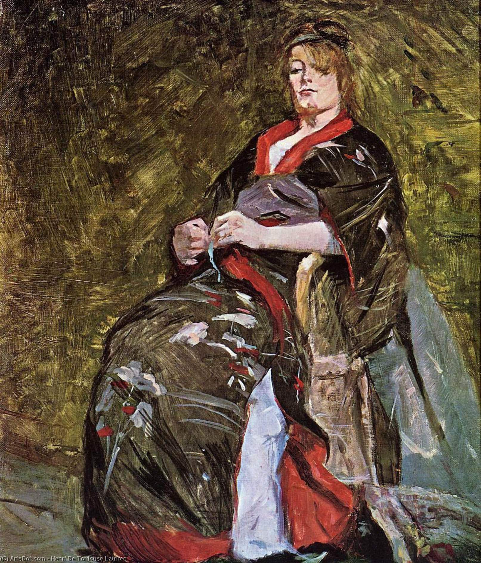 Lili Grenier in a Kimono, Oil On Canvas by Henri De Toulouse Lautrec (1864-1901, France)