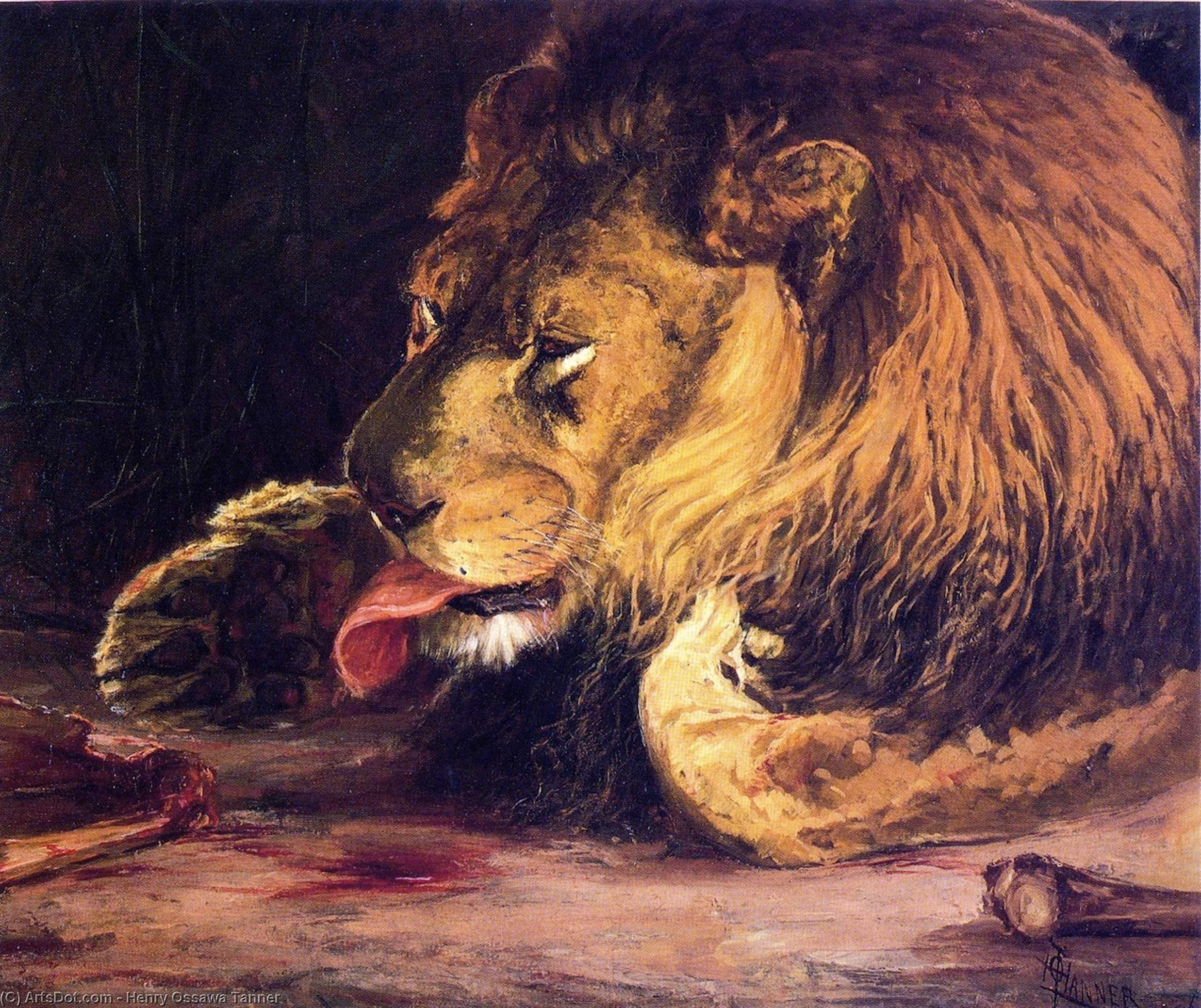 Buy Museum Art Reproductions | Lion Licking Its Paw, 1886 by Henry Ossawa Tanner (1859-1937, United States) | ArtsDot.com