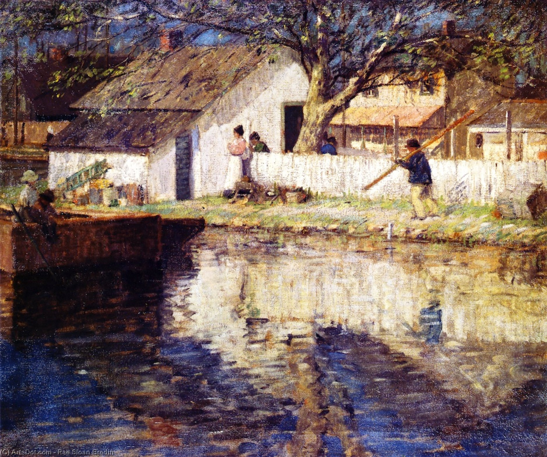 Little White House, Oil On Canvas by Rae Sloan Bredin (1880-1933, United States)