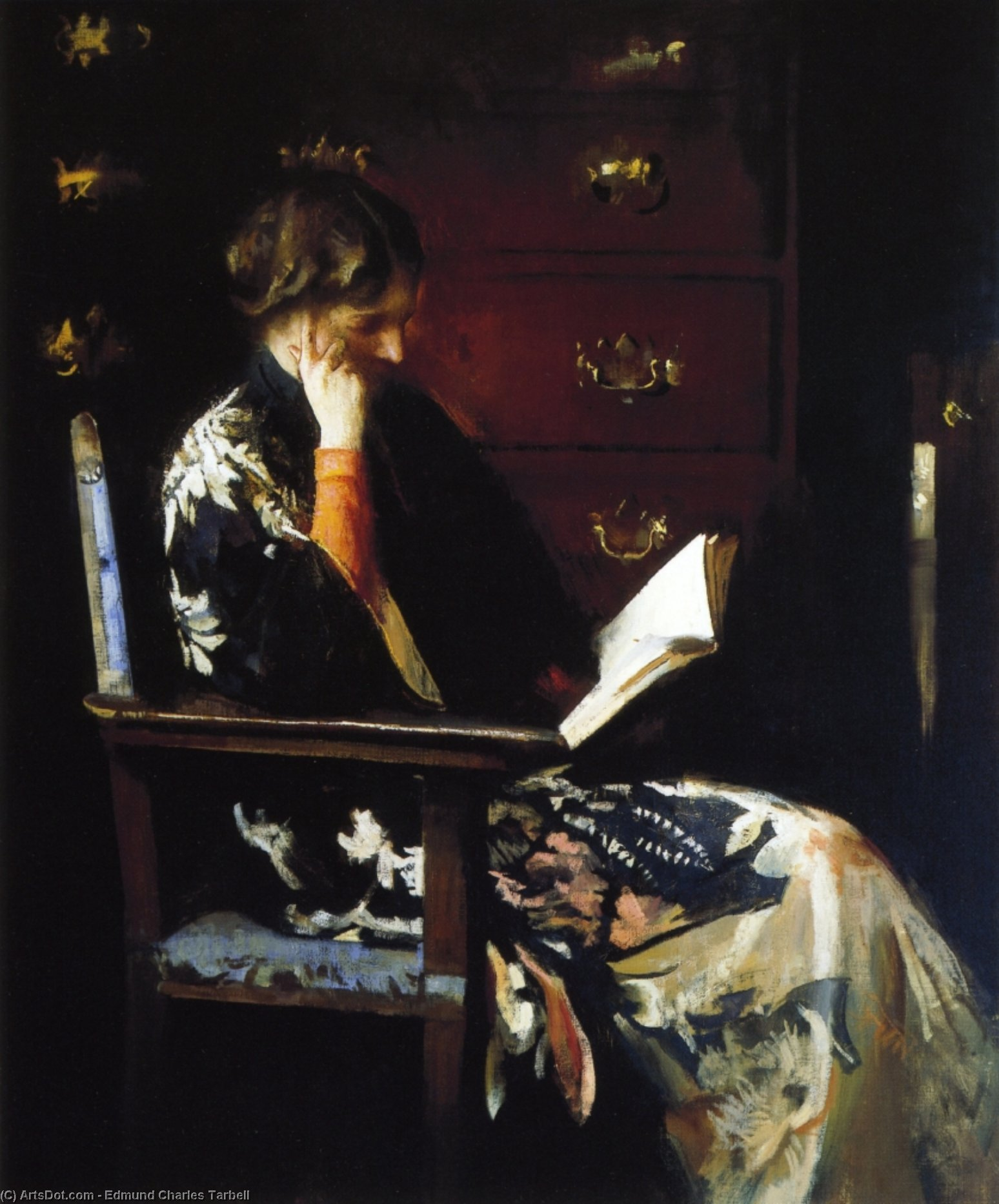 Mary Reading, Oil On Canvas by Edmund Charles Tarbell (1862-1938, United States)