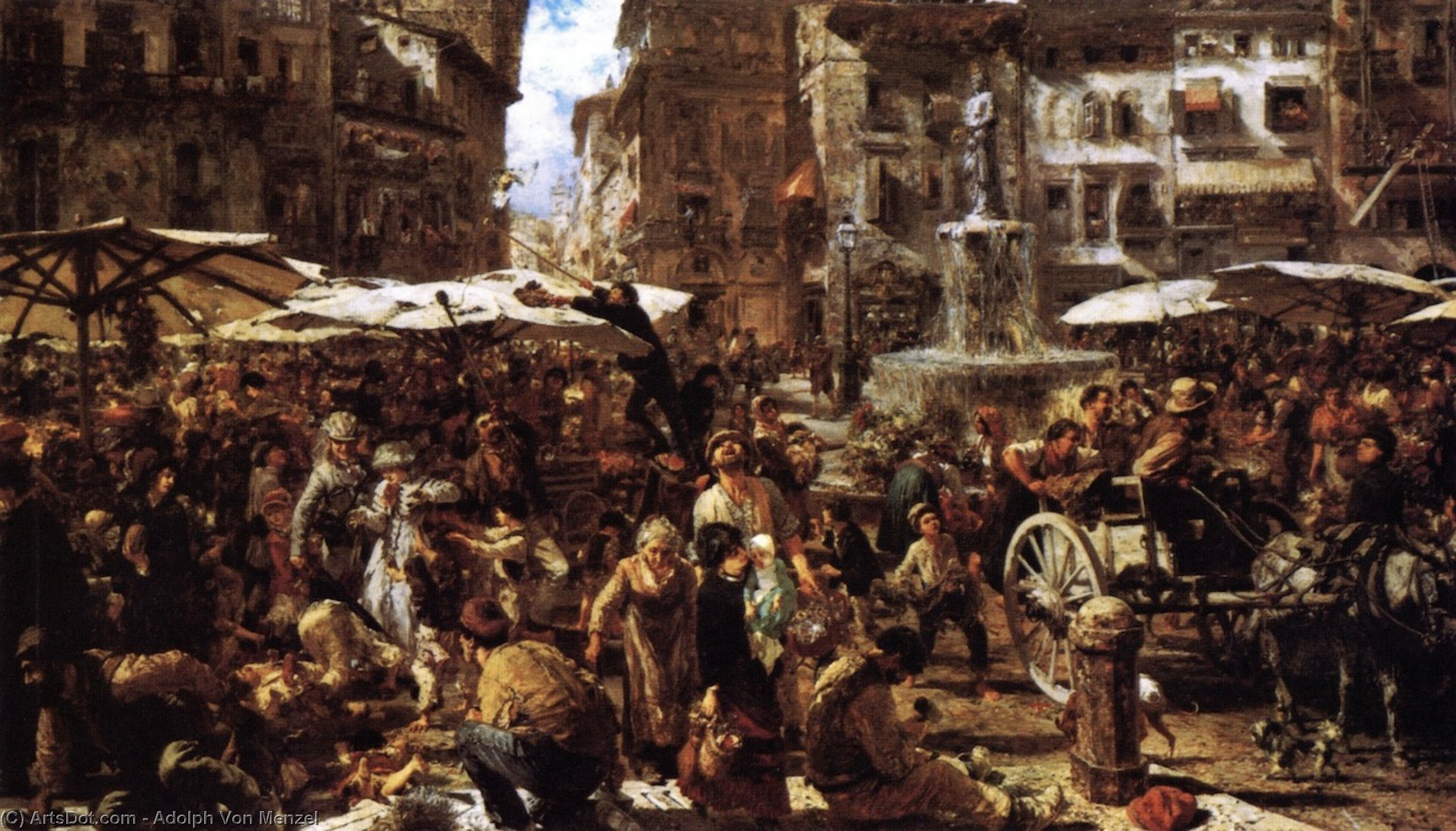 Merketplace in Verona, 1884 by Adolph Menzel (1815-1905, Poland) | Museum Art Reproductions | ArtsDot.com