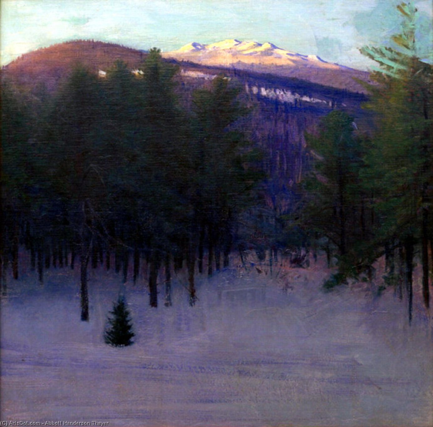 Monadnock in Winter, Oil On Canvas by Abbott Handerson Thayer (1849-1921, United States)