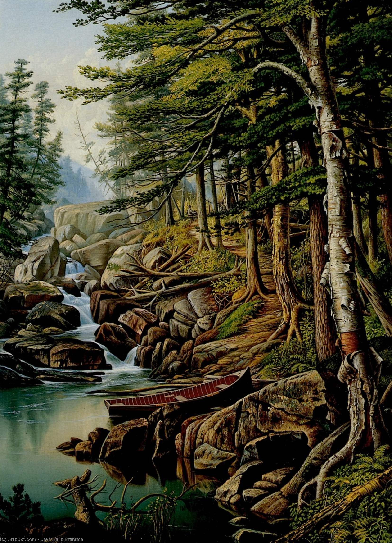 Moose River, Adirondacks, 1884 by Levi Wells Prentice (1851-1935, United States) | Paintings Reproductions Levi Wells Prentice | ArtsDot.com