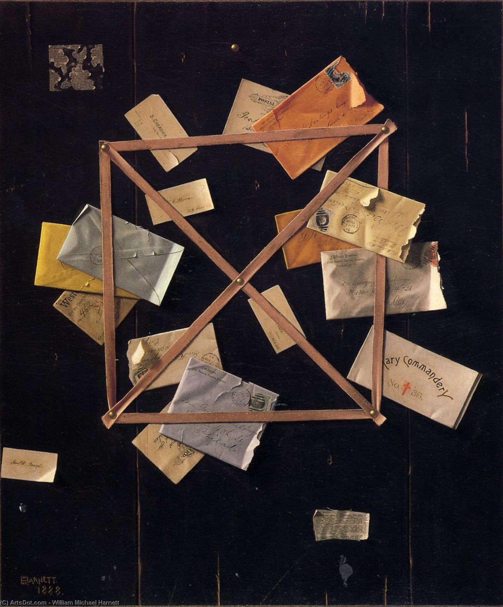 Mr. Hulings' Rack Picture, Oil On Canvas by William Michael Harnett (1848-1892, Ireland)