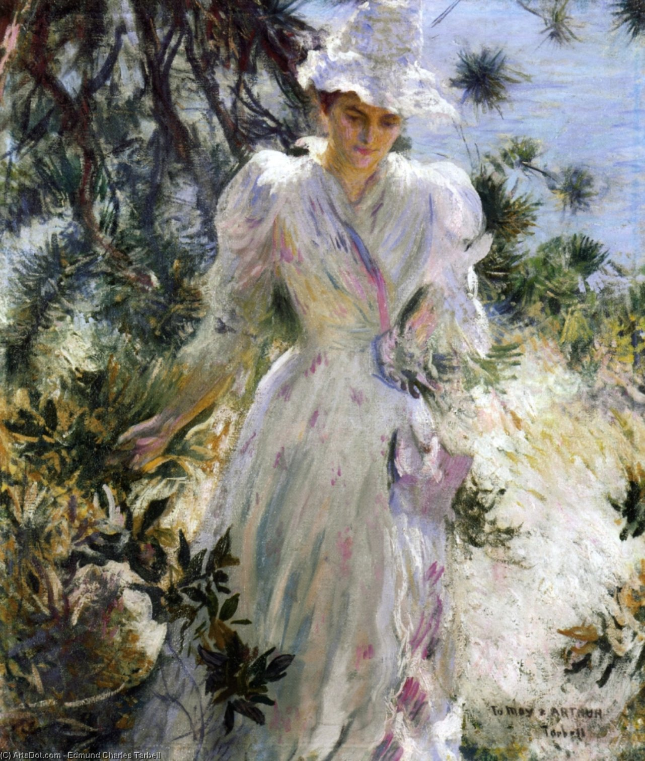 My Wife, Emeline, in a Garden, 1890 by Edmund Charles Tarbell (1862-1938, United States) | Art Reproduction | ArtsDot.com