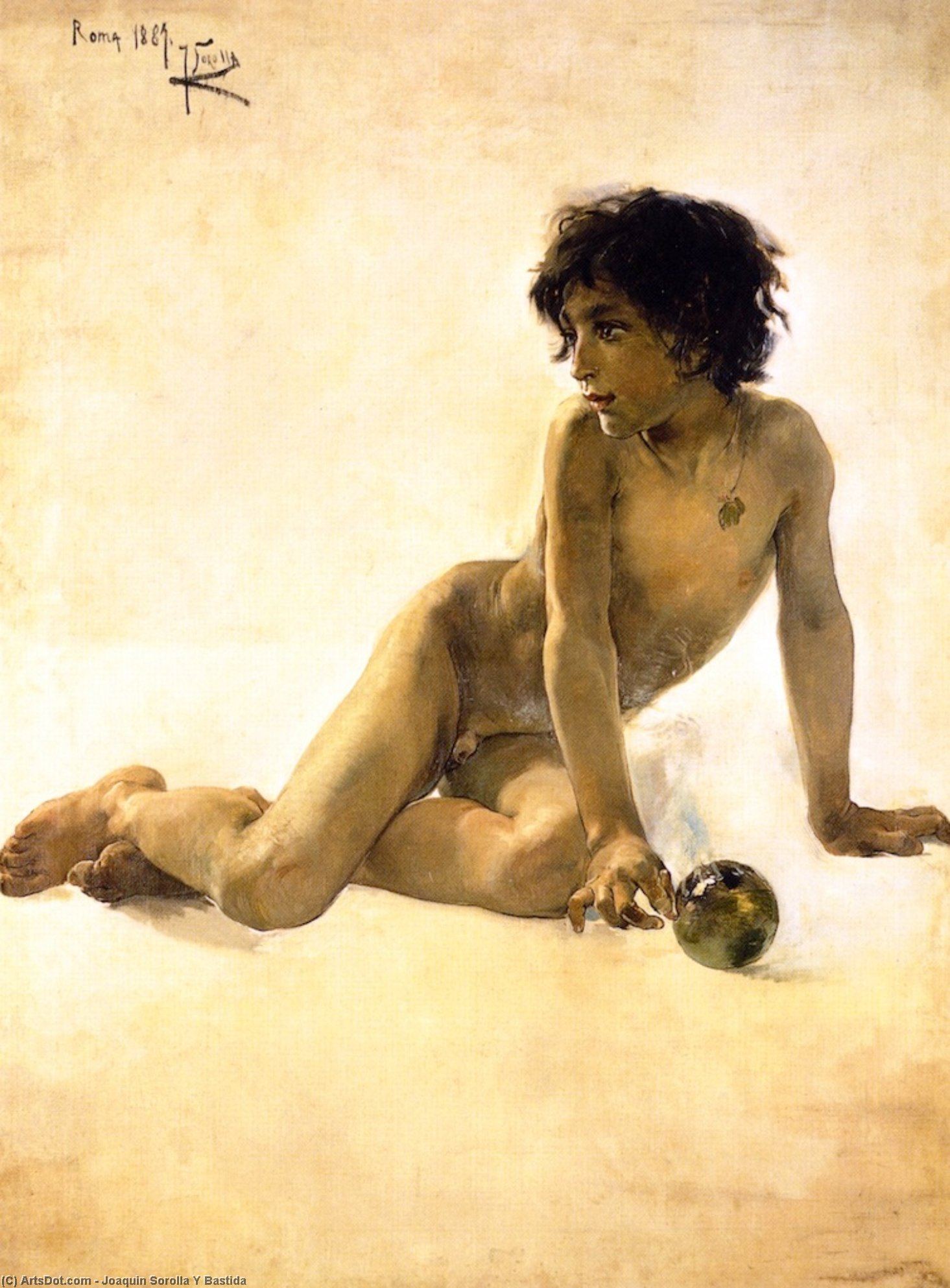 Nude with Ball, Oil On Canvas by Joaquin Sorolla Y Bastida (1863-1923, Spain)