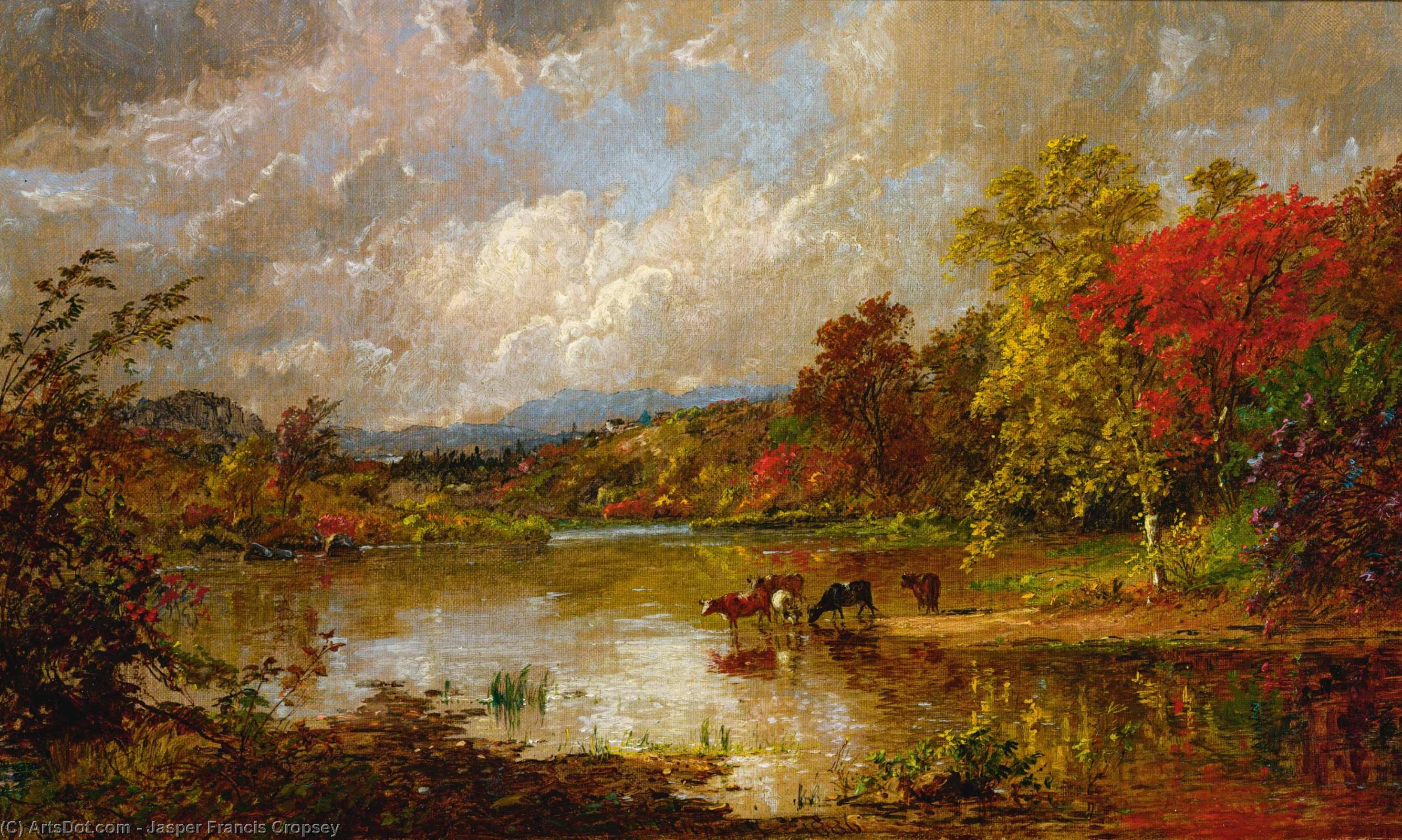 An October Day, Oil On Canvas by Jasper Francis Cropsey (1823-1900, United States)
