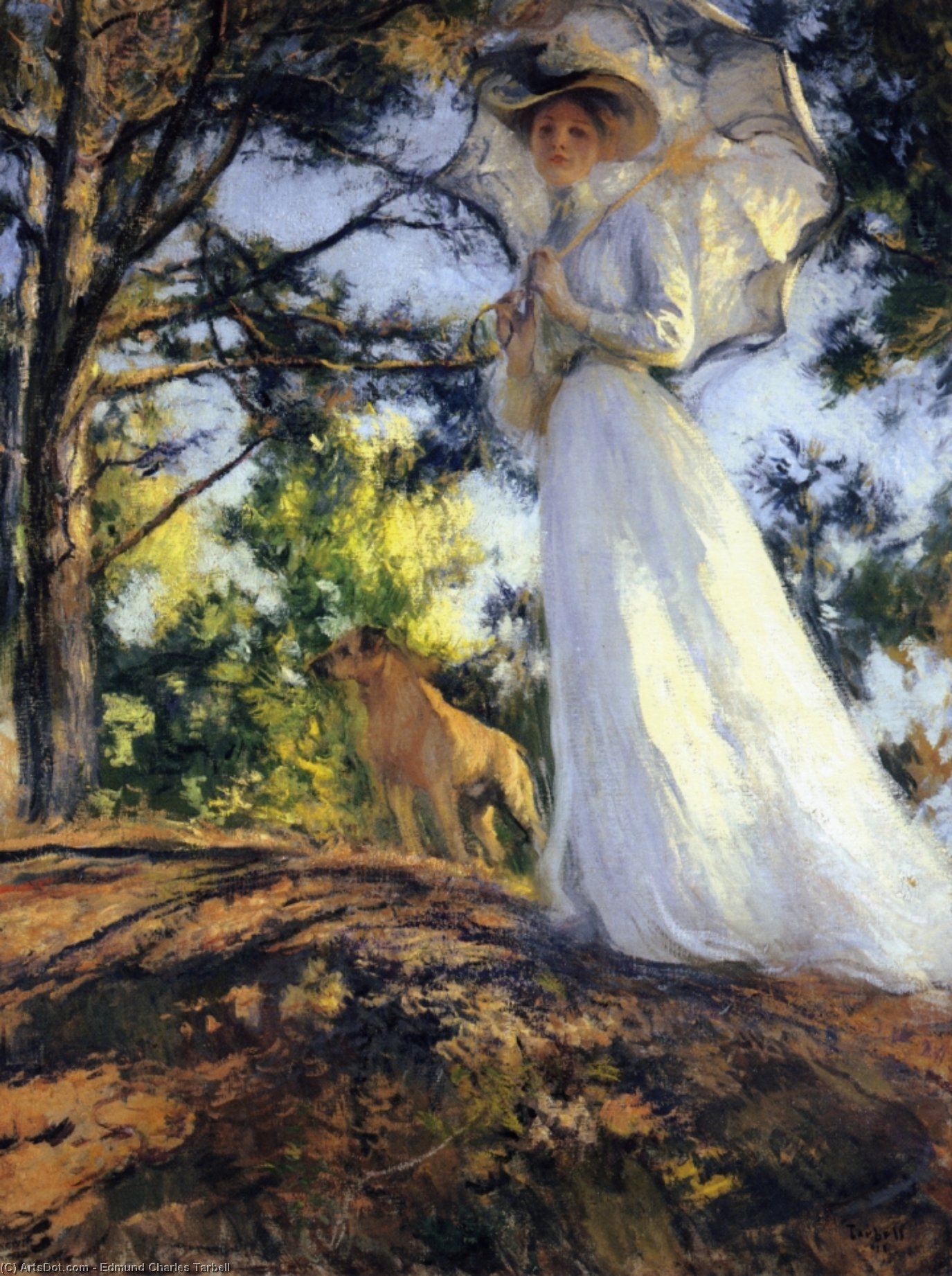 On Bos`n`s Hill, 1901 by Edmund Charles Tarbell (1862-1938, United States) | Painting Copy | ArtsDot.com