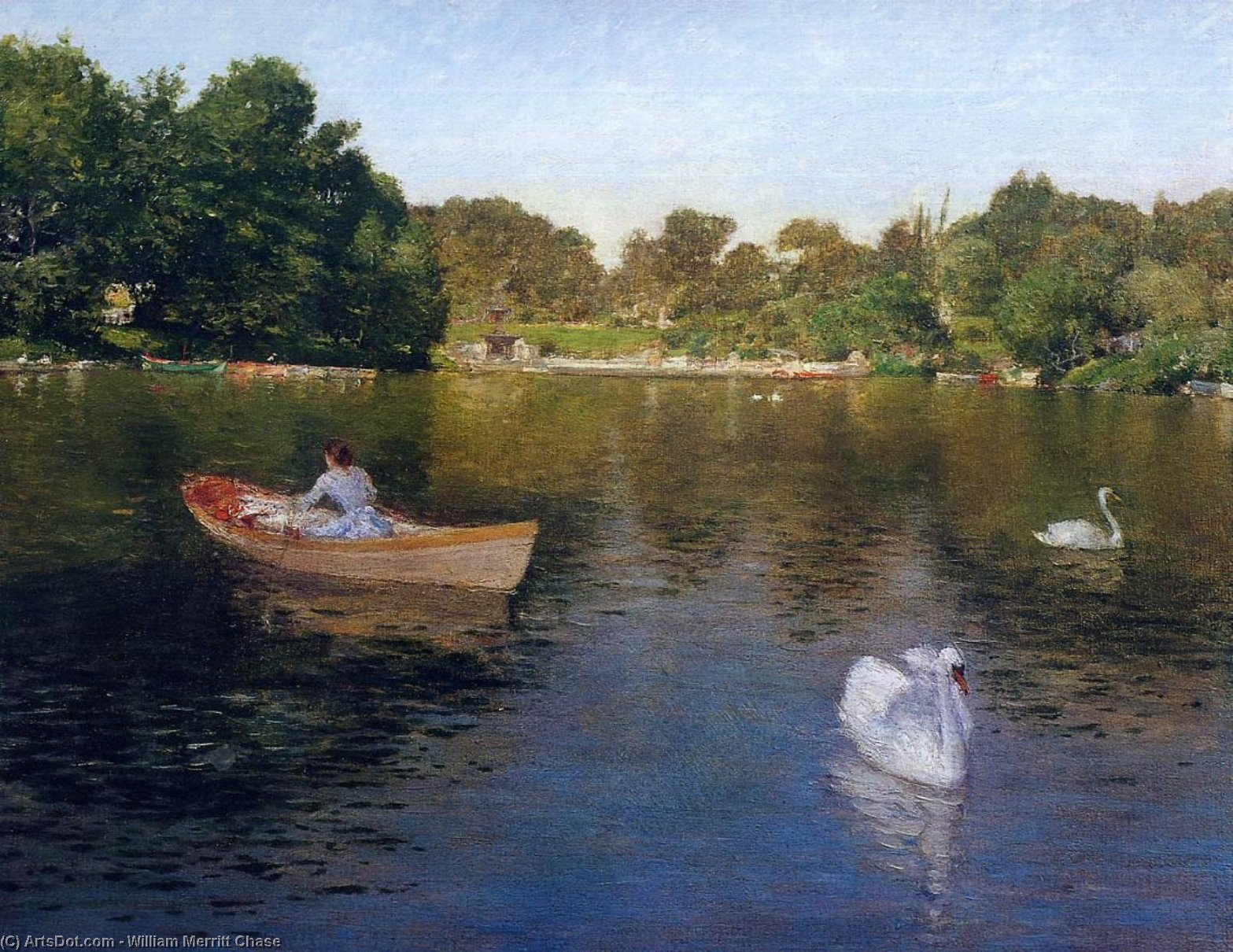 On the Lake, Central Park, Oil On Panel by William Merritt Chase (1849-1916, United States)