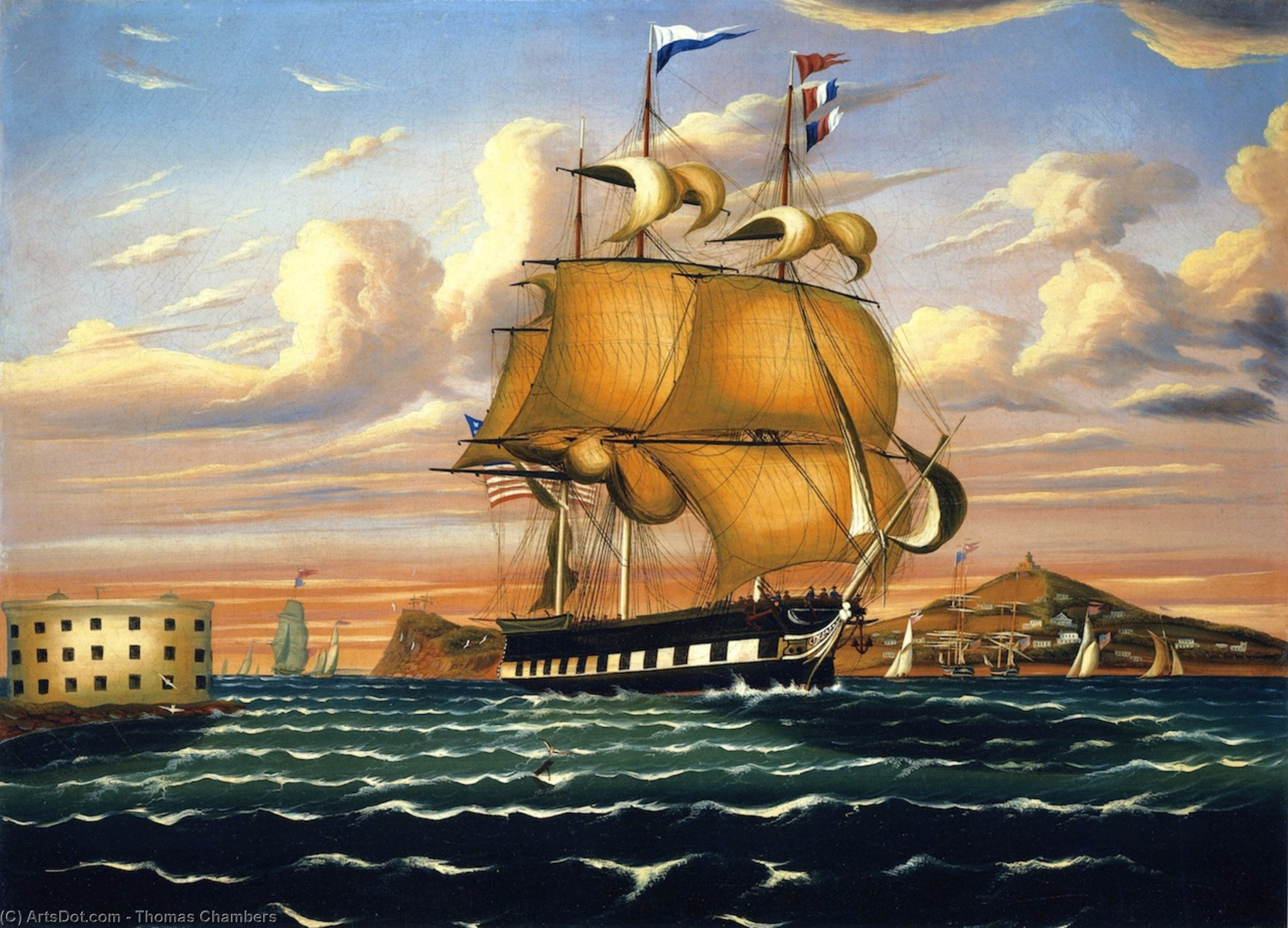 Packet Ship Passing Castle Williams, New York Harbor, Oil On Canvas by Thomas Chambers (1808-1869)