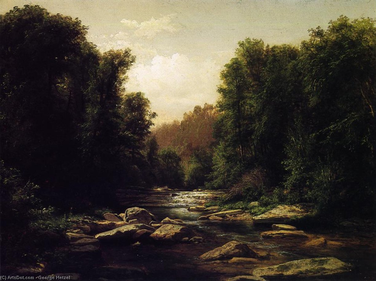 Pennsylvania Mounain Stream, 1868 by George Hetzel (1826-1899, France) | Painting Copy | ArtsDot.com