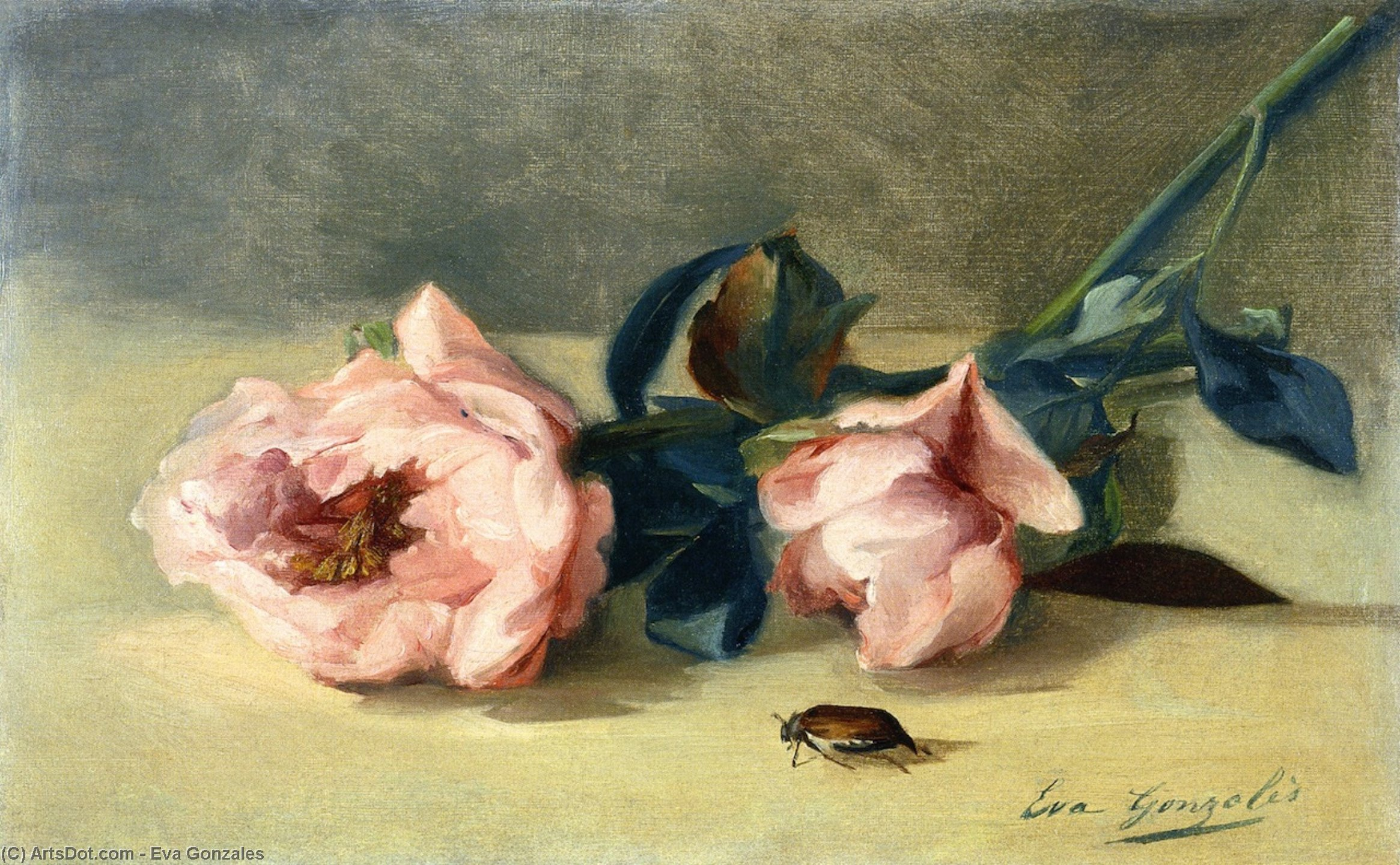 Peonies and June Bug, Oil On Canvas by Eva Gonzales (1849-1883, France)