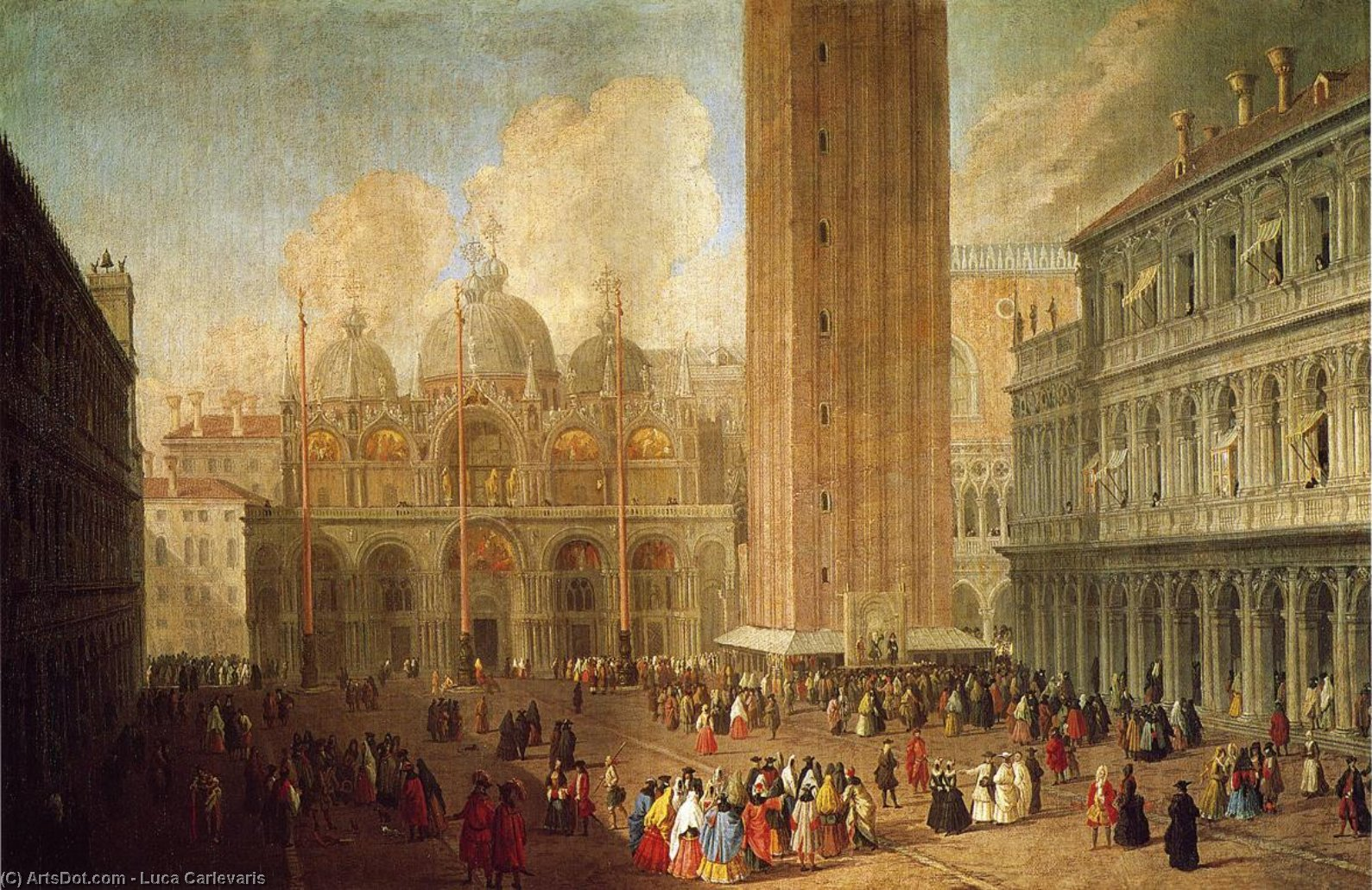Piazza San Marco, Looking East, Oil On Canvas by Luca Carlevaris (1663-1730, Italy)