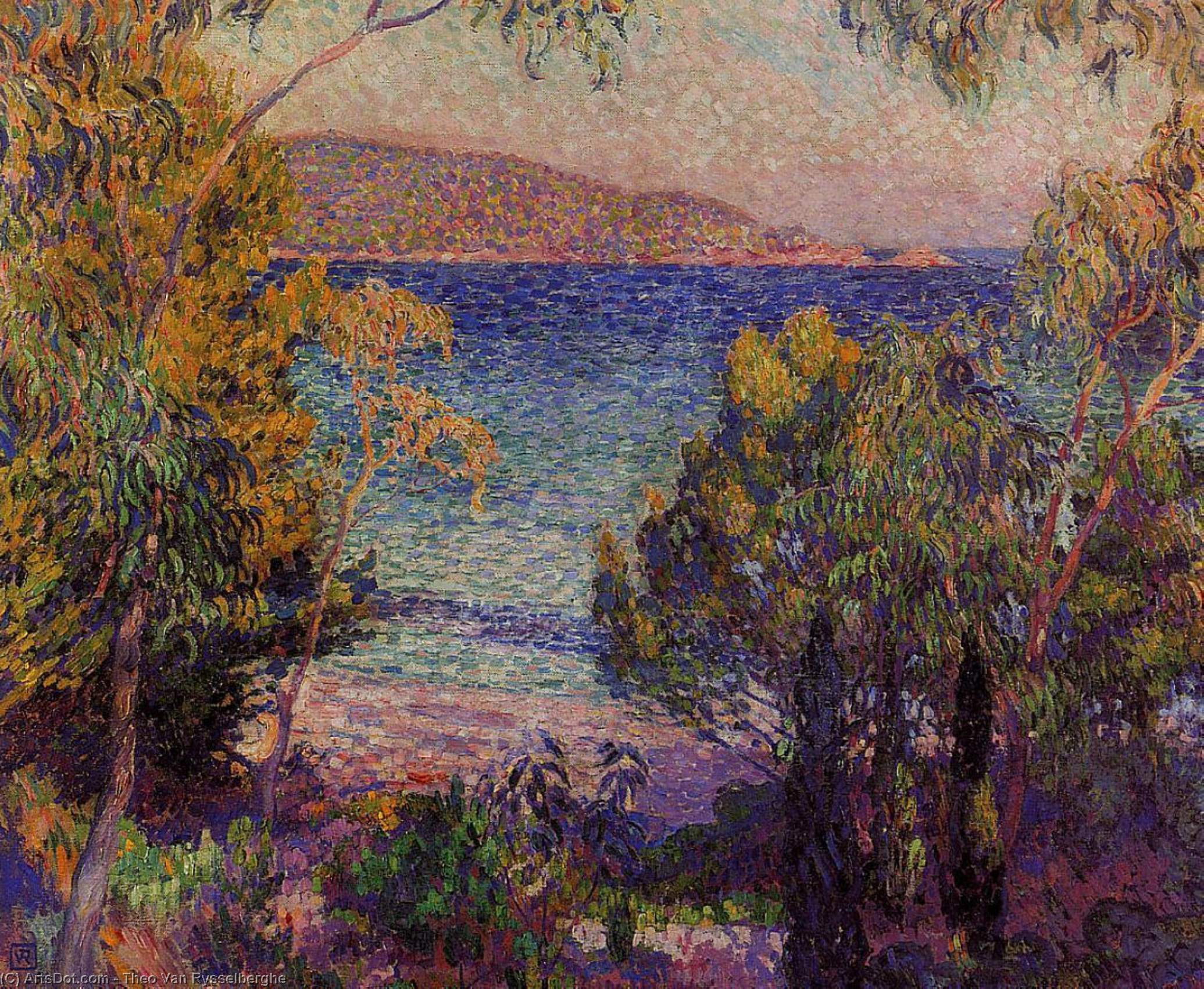 Pines and Eucalyptus at Cavelieri, Oil On Canvas by Theo Van Rysselberghe (1862-1926, Belgium)