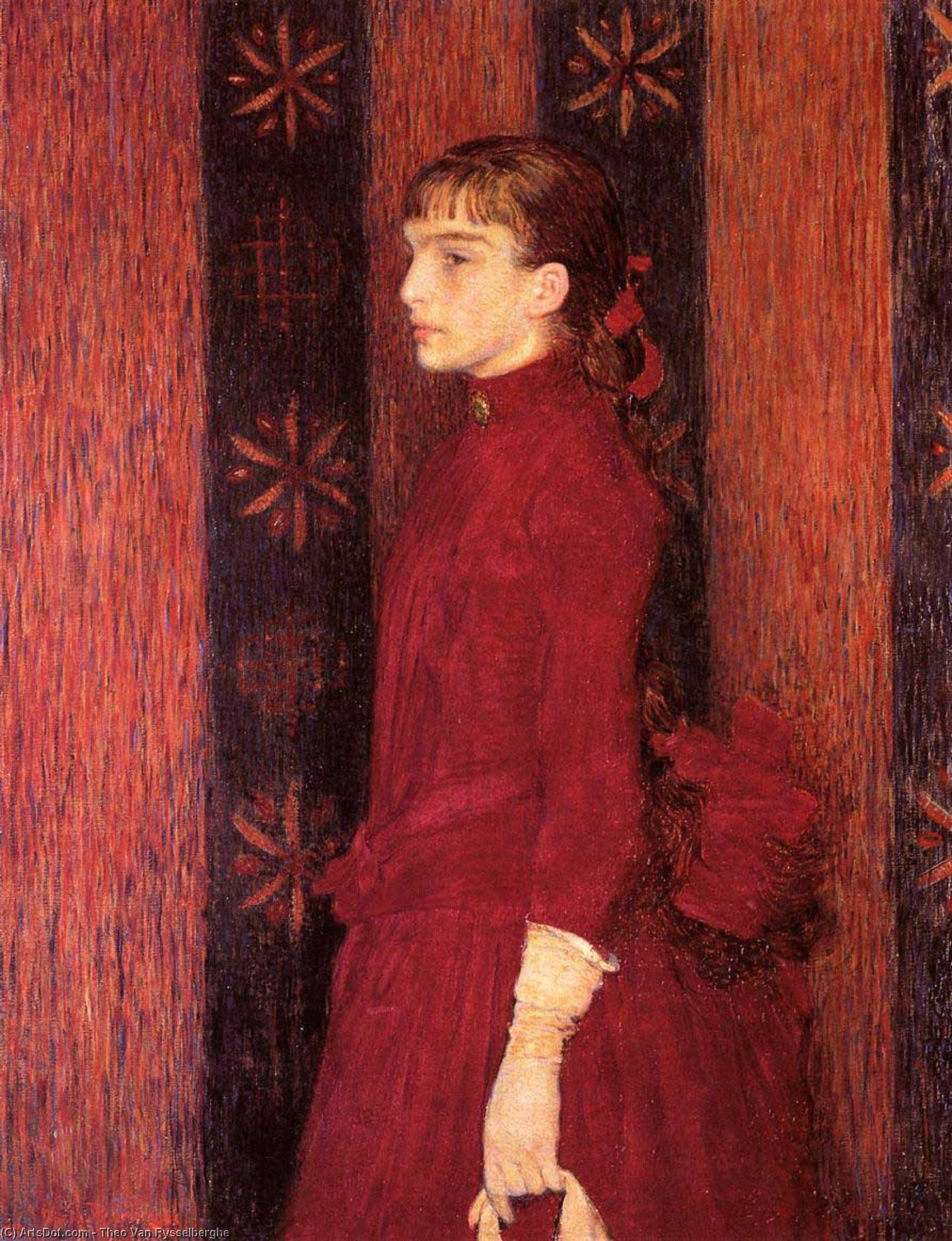 Portrait of a Young Girl in Red, Oil On Canvas by Theo Van Rysselberghe (1862-1926, Belgium)