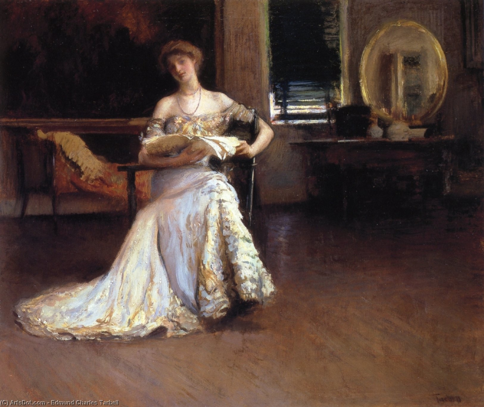 Quiet Afternoon (also known as The Rehearsal), Oil On Canvas by Edmund Charles Tarbell (1862-1938, United States)