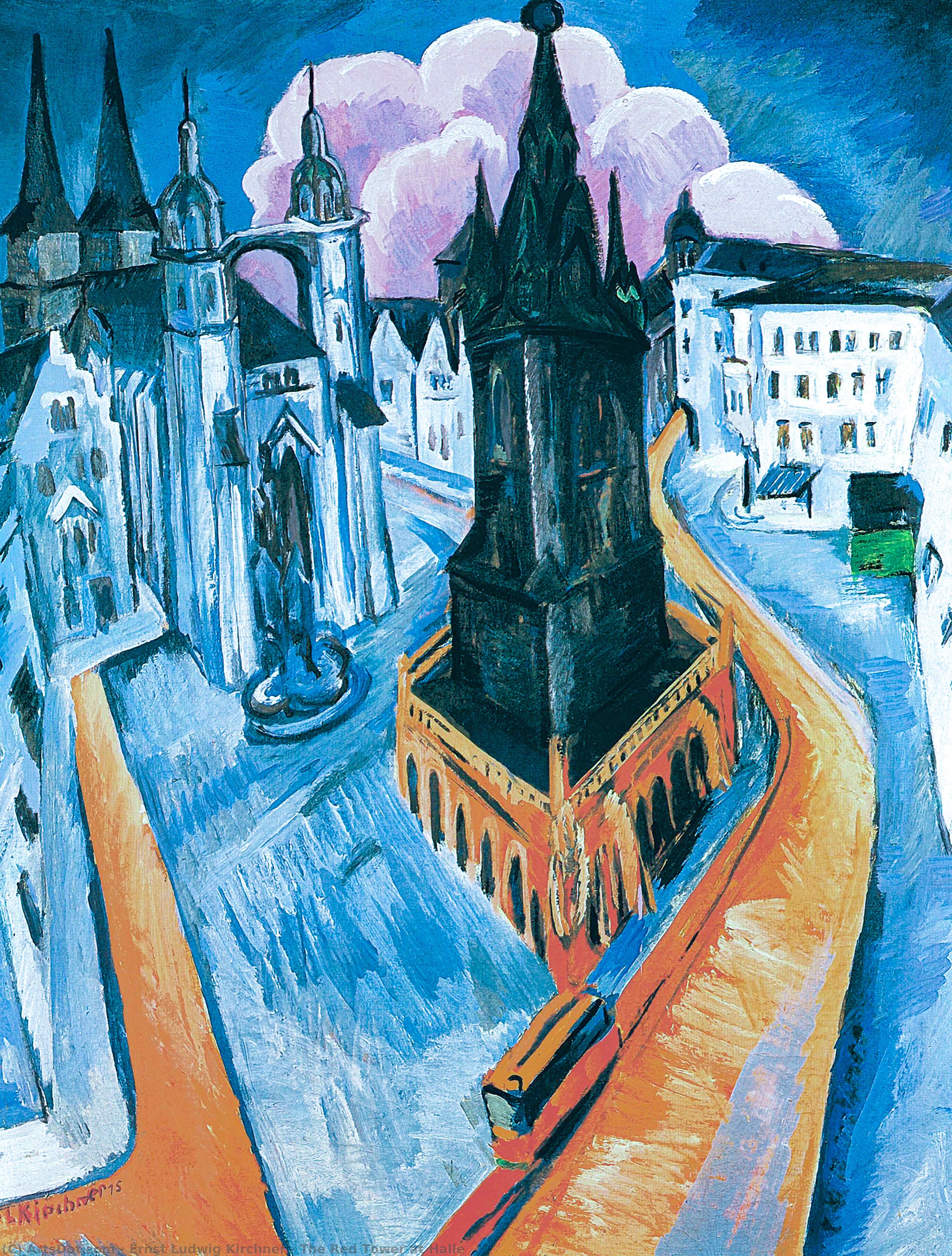 Order Paintings Reproductions | The Red Tower at Halle, 1914 by Ernst Ludwig Kirchner (1880-1938, Germany) | ArtsDot.com