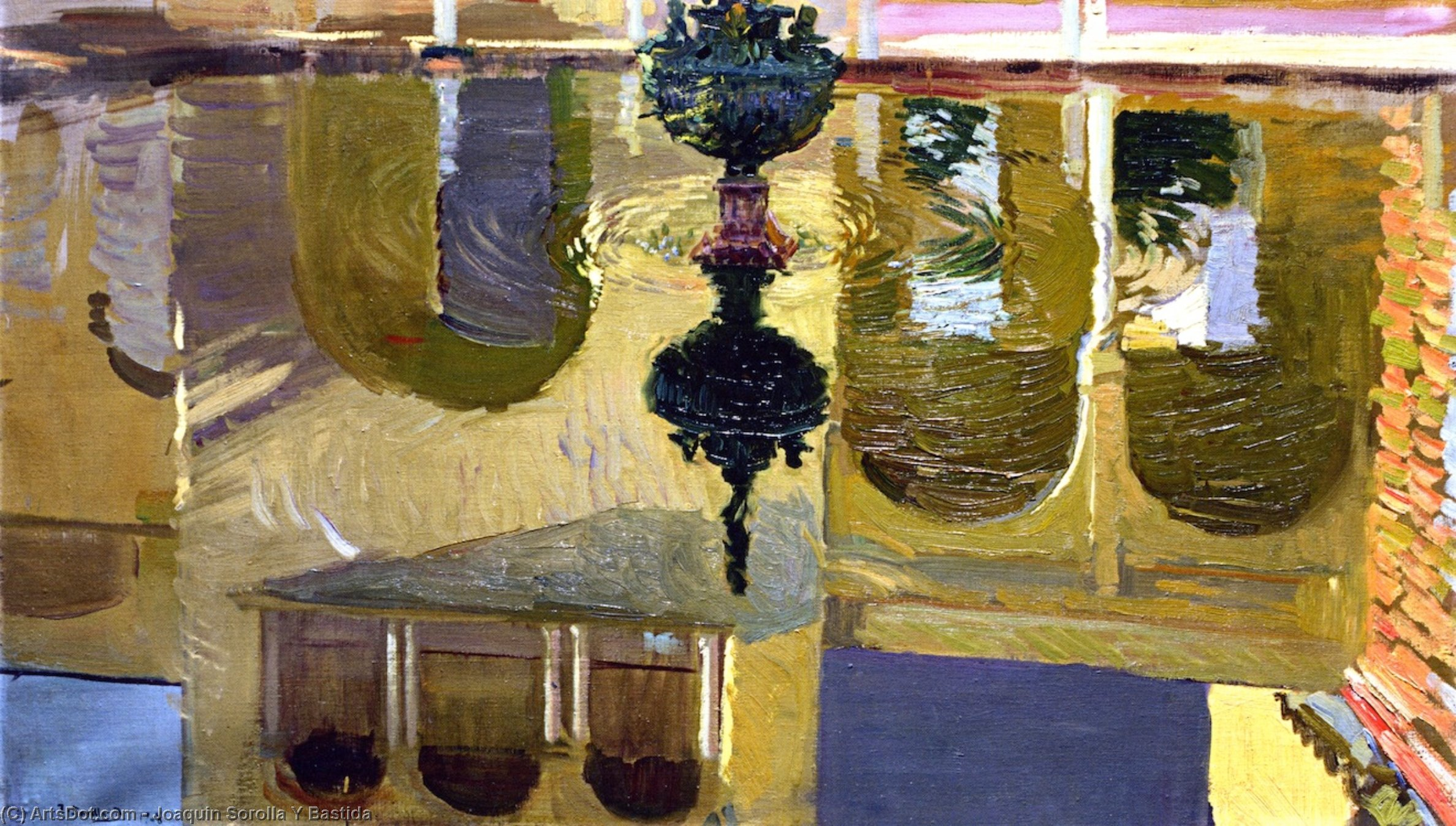 Reflections in a Fountain, Oil On Canvas by Joaquin Sorolla Y Bastida (1863-1923, Spain)