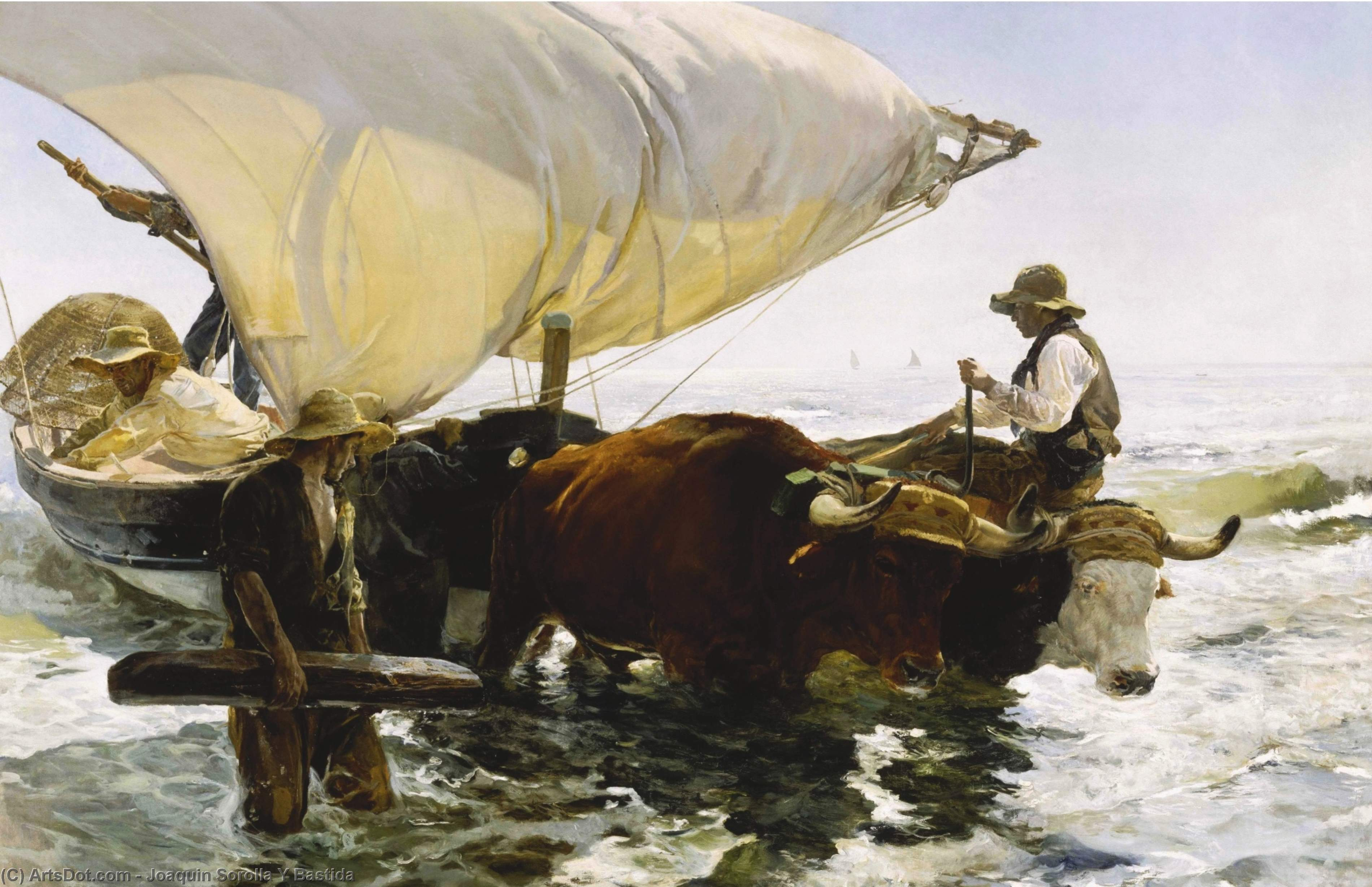 The Return from Fishing, Oil On Canvas by Joaquin Sorolla Y Bastida (1863-1923, Spain)