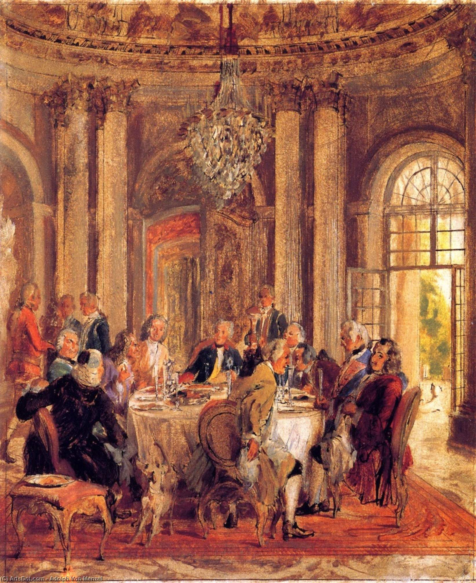 The Round Table of Frederick II at Sanssouci (sketch), Painting by Adolph Menzel (1815-1905, Poland)