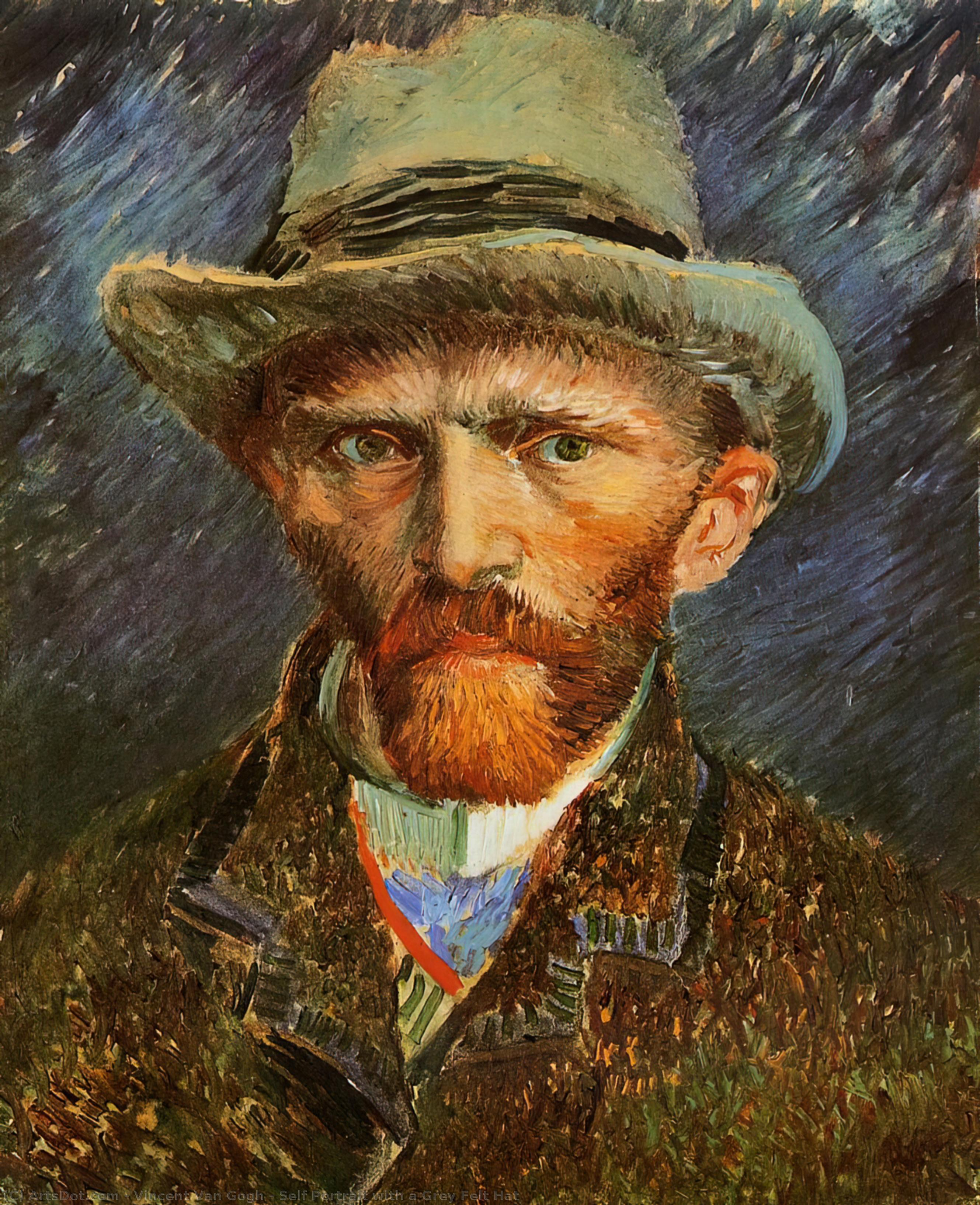 Self Portrait with a Grey Felt Hat, 1887 by Vincent Van Gogh (1853-1890, Netherlands) | Art Reproduction | ArtsDot.com