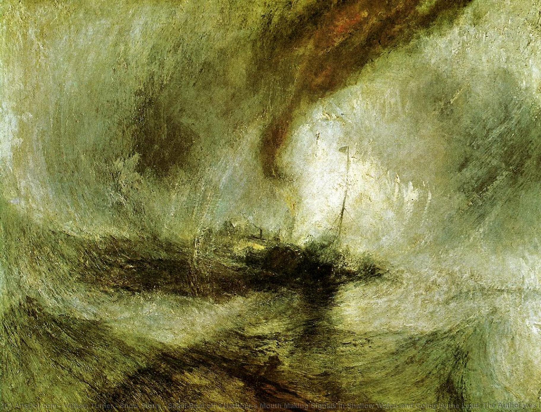 Order Oil Painting : Show Storm - Seam-Boat off a Harbour`s Mouth Making Signals in Shallow Water, and Going by the Lead. The Author was in this Storm on the Night the Ariel Left Harwich, 1842 by William Turner (1775-1851, United Kingdom) | ArtsDot.com