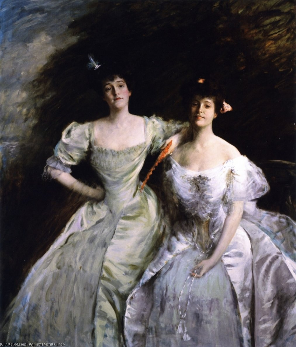 The Sisters (also known as The Sisters - Mrs. Sullivan and Mrs. Oskar LIvingston, The Sisters - Mrs. Oskar Livingston and Mrs. James Francis Sullivan), Oil On Canvas by William Merritt Chase (1849-1916, United States)
