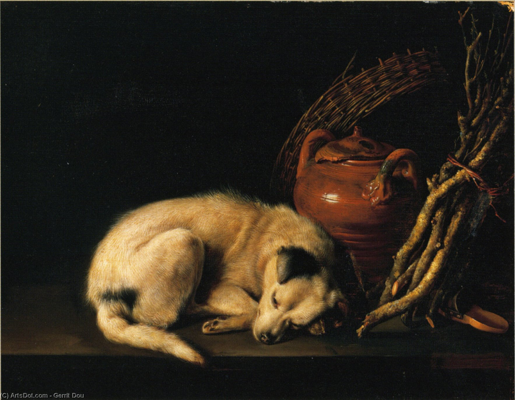 A Sleeping Dog Beside a Terracotta Jug, a Basket, and a Pile of Kindling Wood, Oil On Panel by Gerrit Dou (1613-1675, Netherlands)