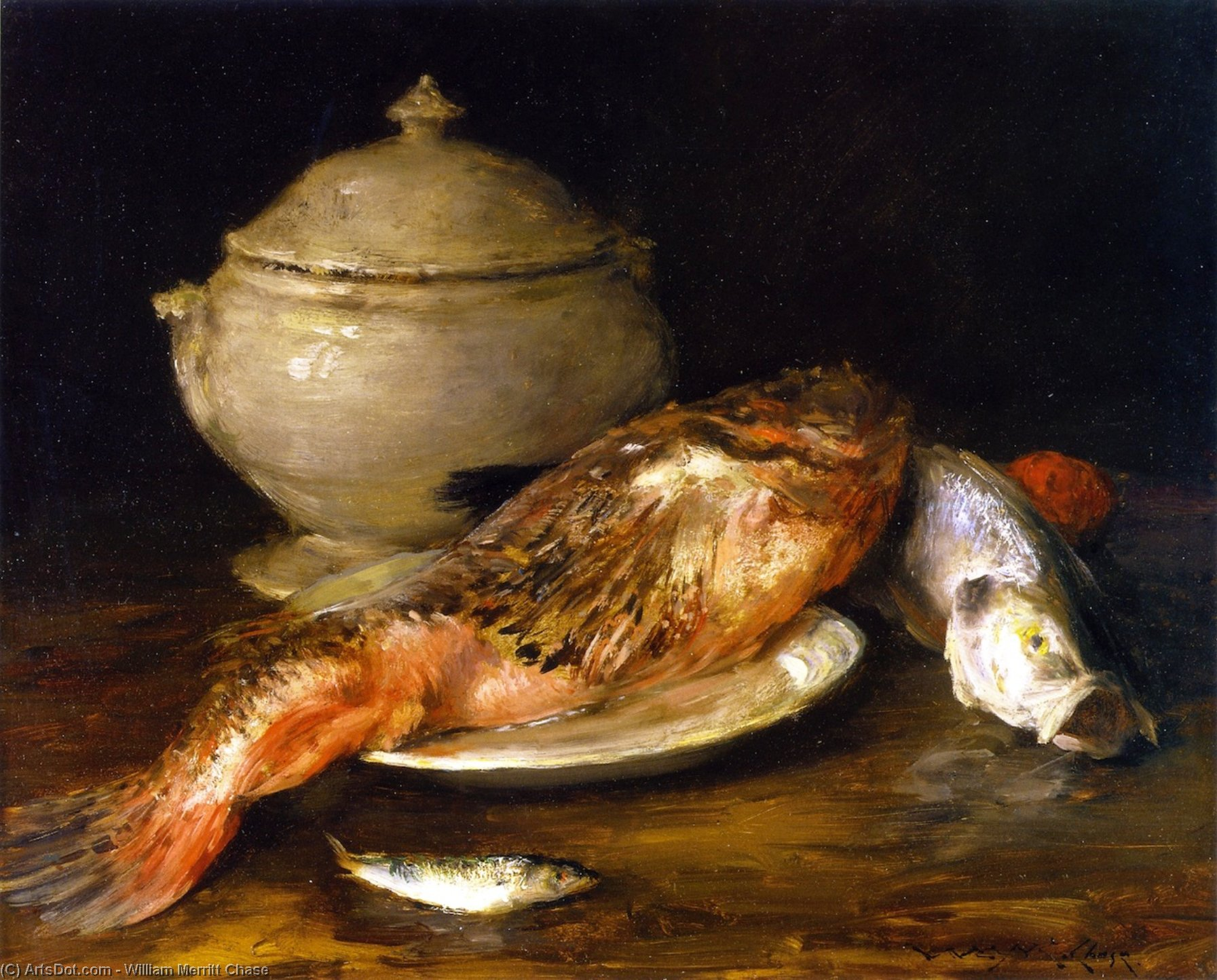 Still LIfe (also known as Fish from the Adriatic), Oil On Panel by William Merritt Chase (1849-1916, United States)