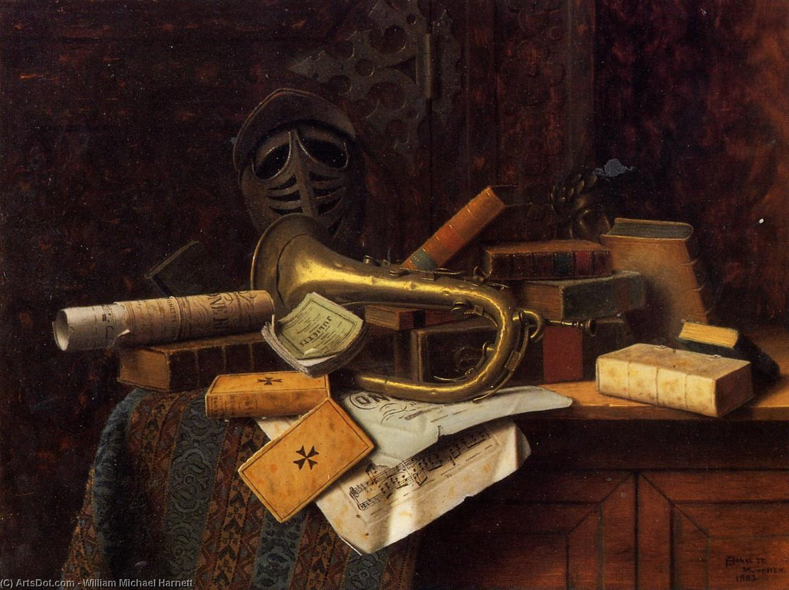 Still Life with Bust of Dante, Oil On Panel by William Michael Harnett (1848-1892, Ireland)