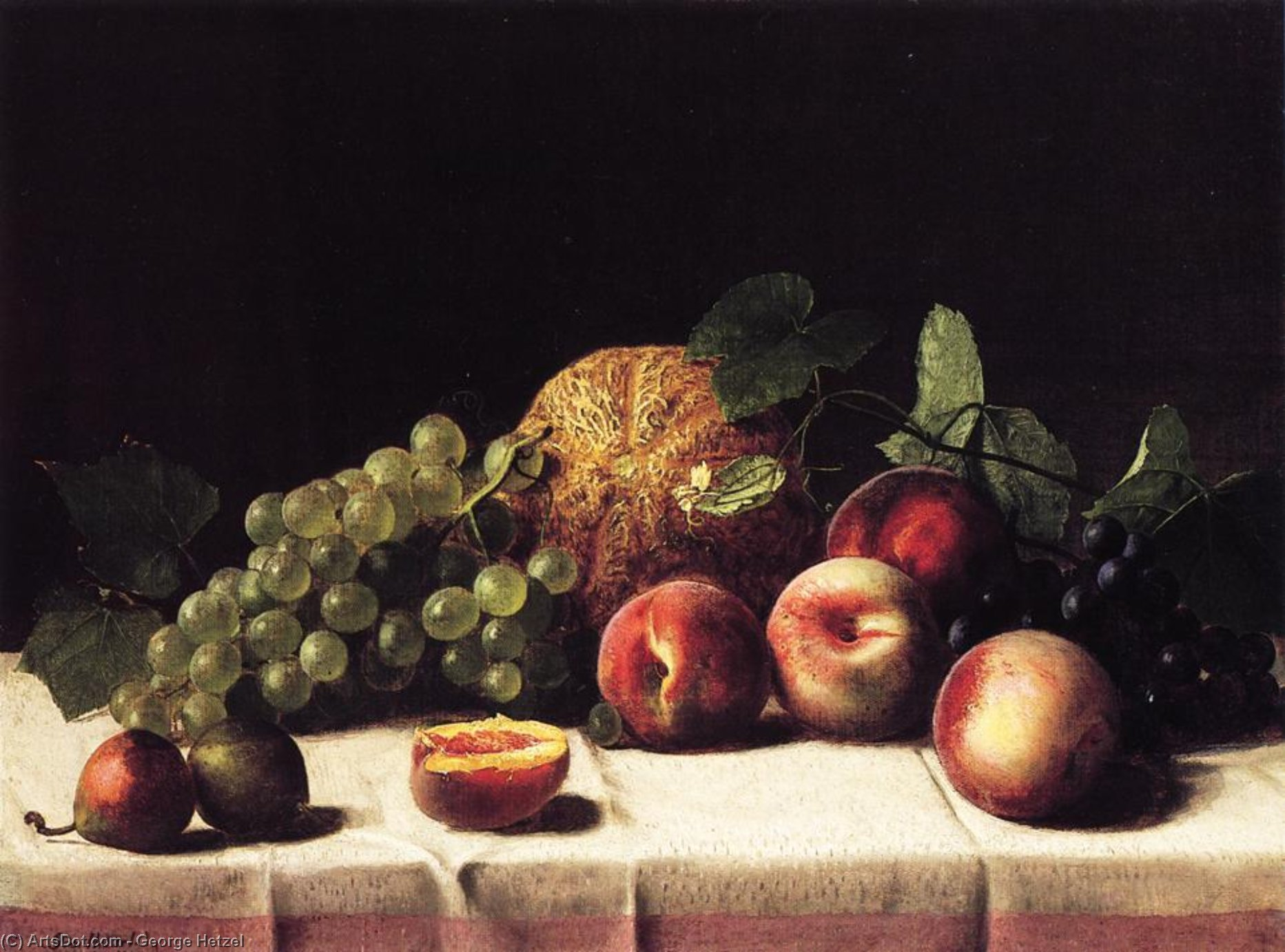 Still Life with Cantaloupe, Peaches and Grapes, 1865 by George Hetzel (1826-1899, France) | ArtsDot.com