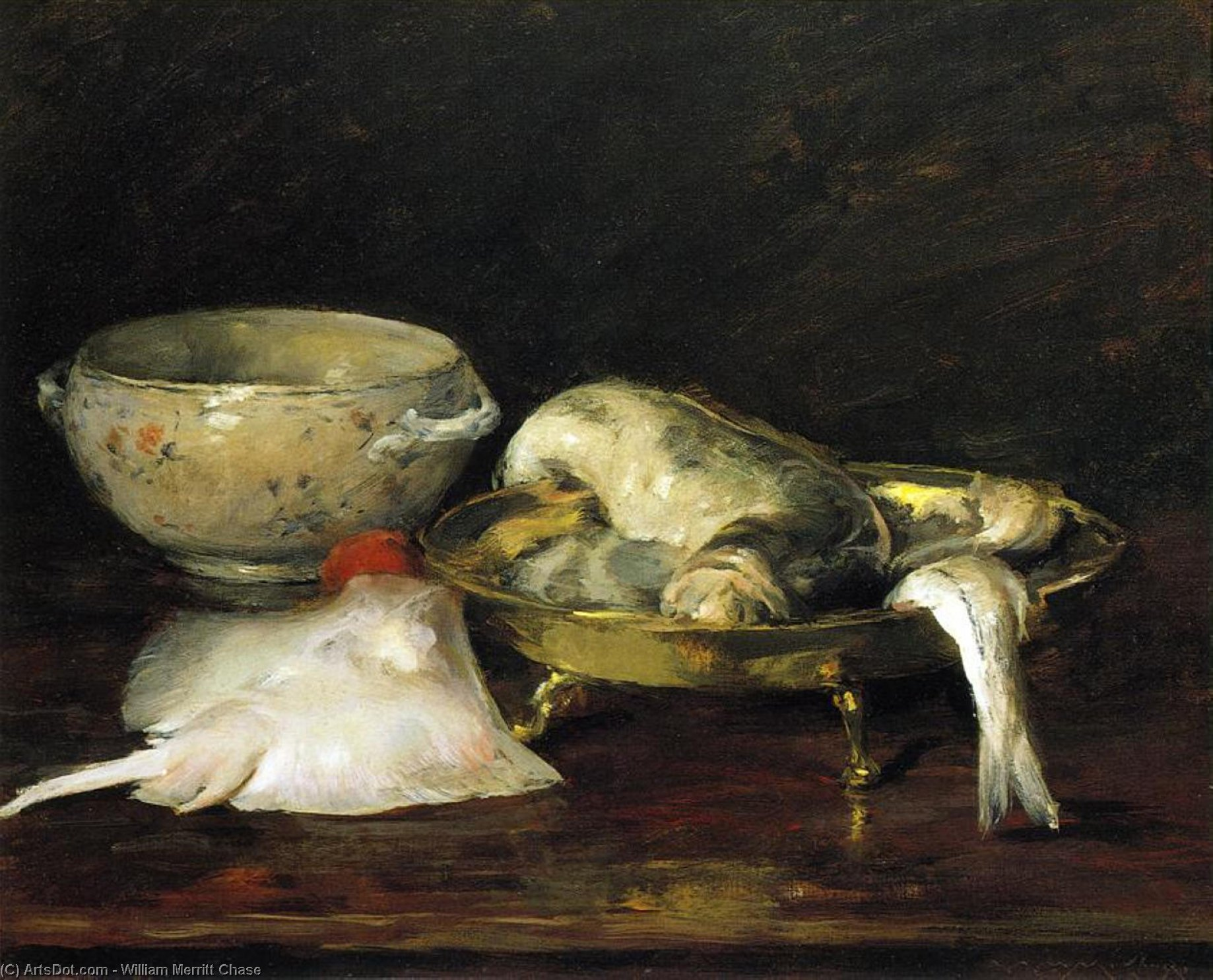 Still Life with Fish, Oil On Canvas by William Merritt Chase (1849-1916, United States) | ArtsDot.com
