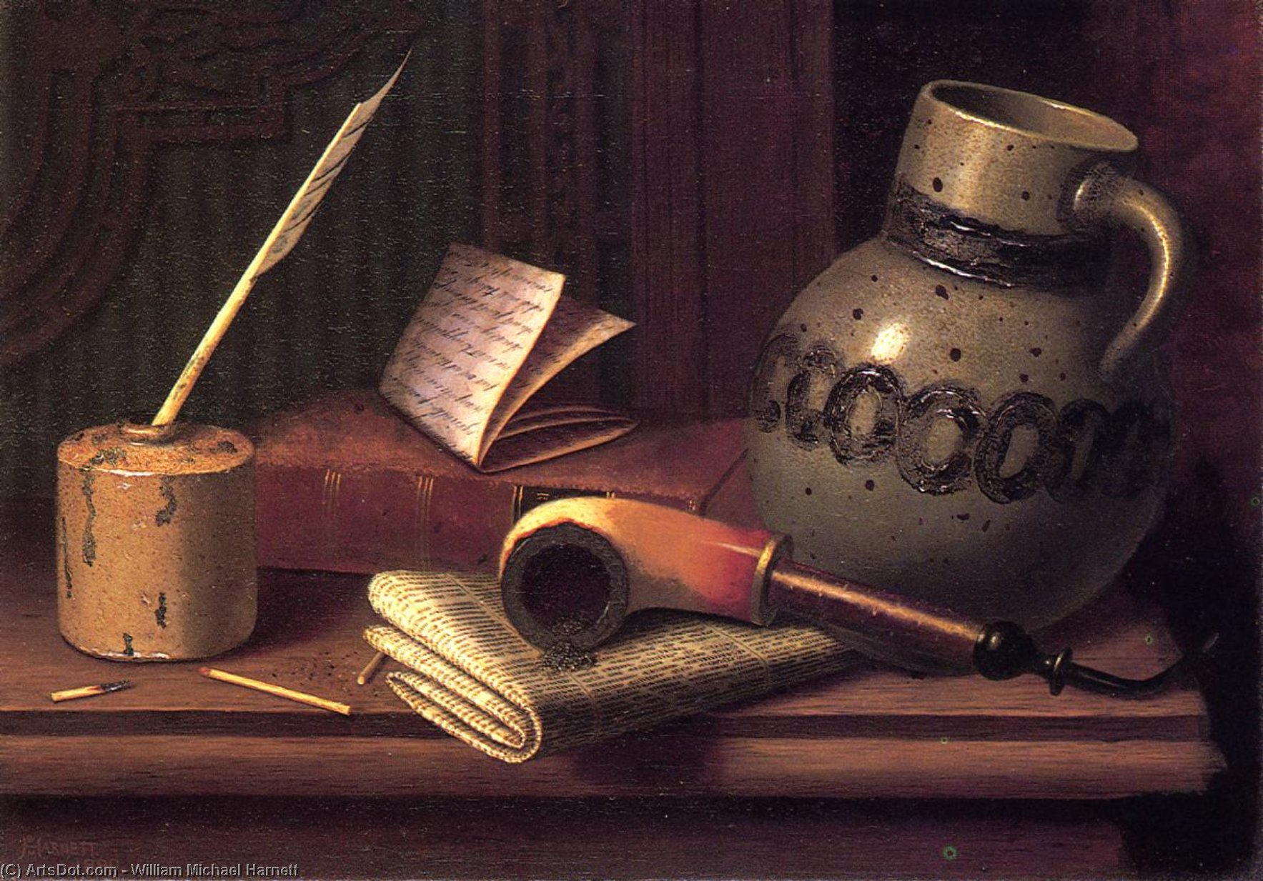 Still Life with Inkwell, Book, Pipe and Stoneware Jug, Oil On Canvas by William Michael Harnett  (order Fine Art Poster on canvas William Michael Harnett)