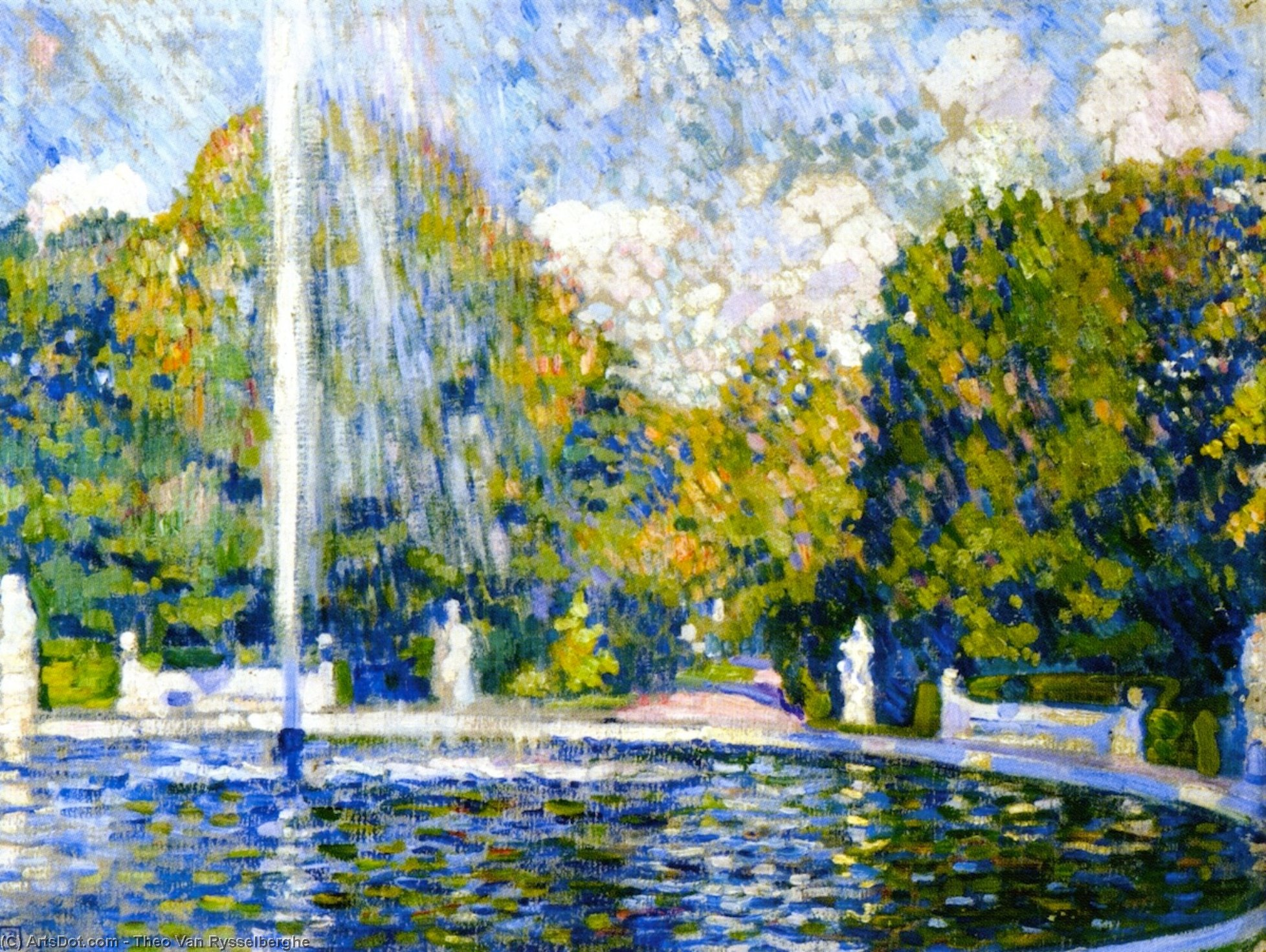 Study for 'Fountain', Painting by Theo Van Rysselberghe (1862-1926, Belgium)