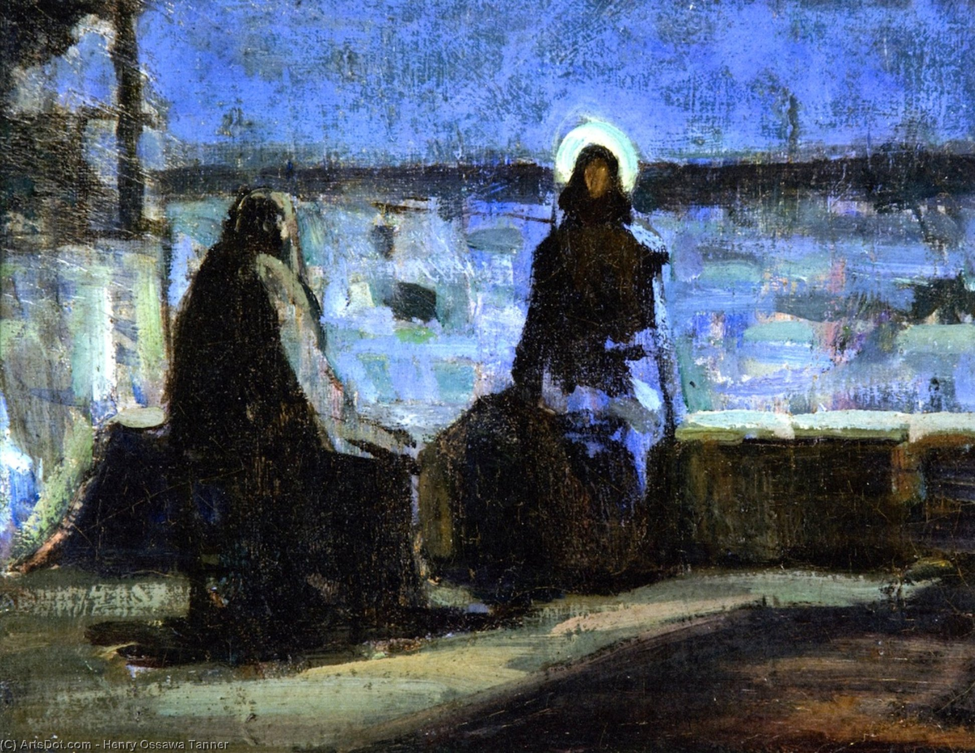 Study for Nicodemus Visiting Jesus, Oil On Canvas by Henry Ossawa Tanner (1859-1937, United States)