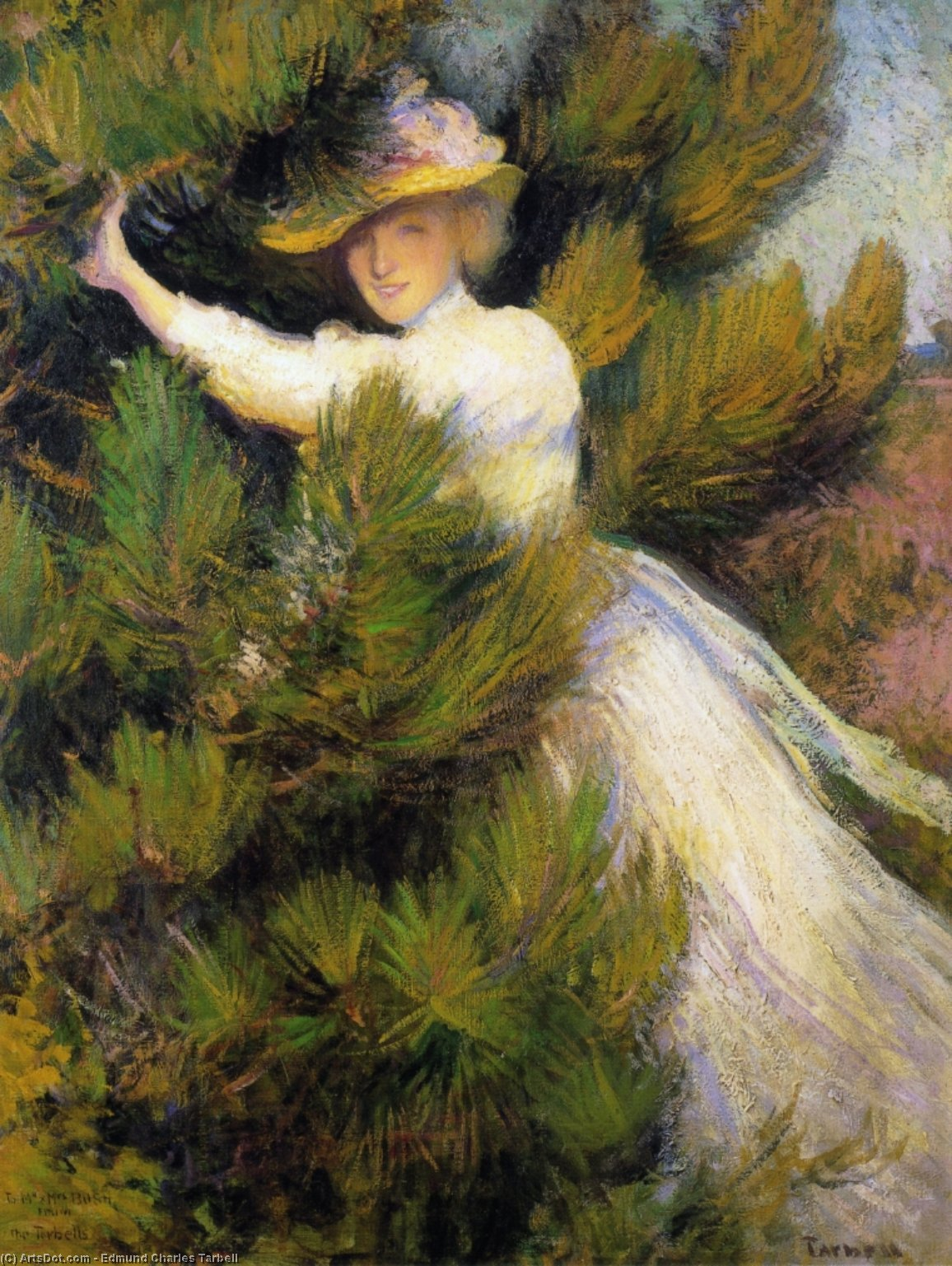 Summer Idyll (also known as Girl and Pine Trees), 1899 by Edmund Charles Tarbell (1862-1938, United States) | Art Reproduction | ArtsDot.com