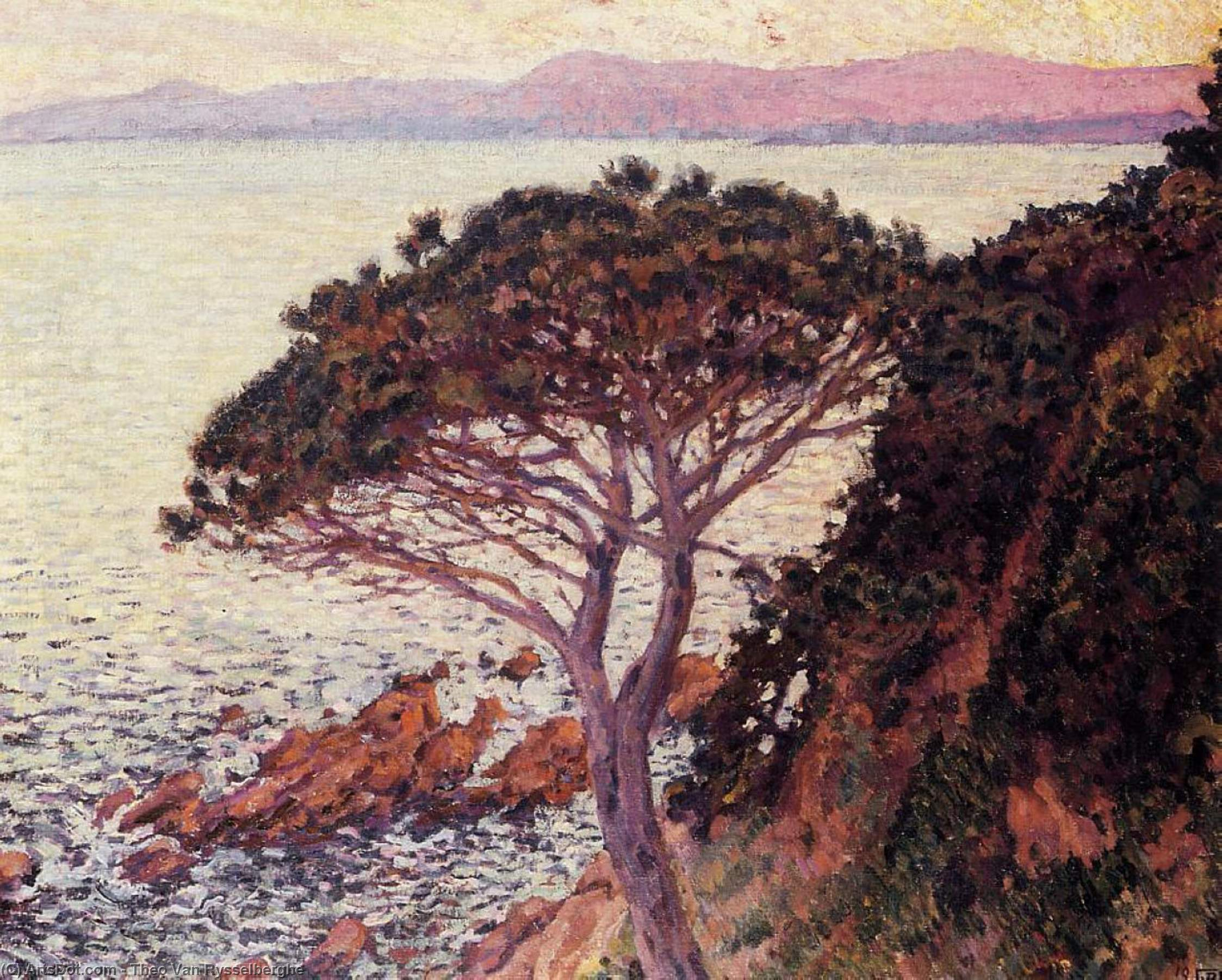 Sunset, Oil On Canvas by Theo Van Rysselberghe (1862-1926, Belgium)