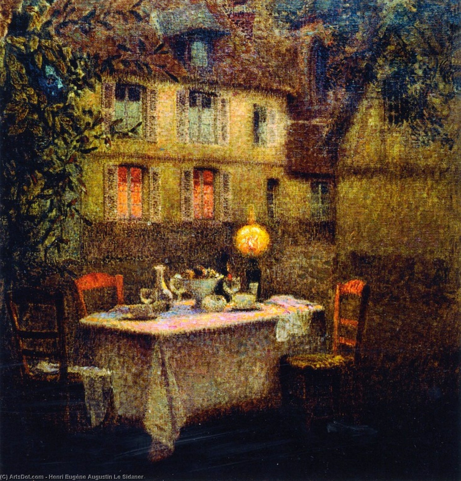 The Table, Gerberoy, Oil On Canvas by Henri Eugène Augustin Le Sidaner (1862-1939, Mauritius)