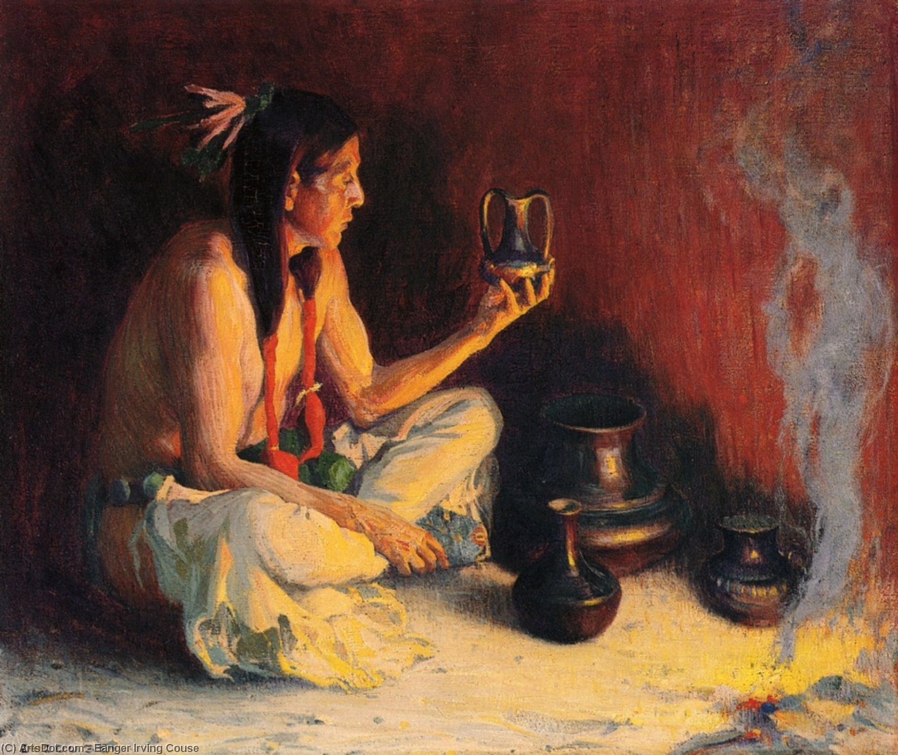 Taos Indian and Pottery, Oil On Canvas by Eanger Irving Couse (1866-1936, United States)