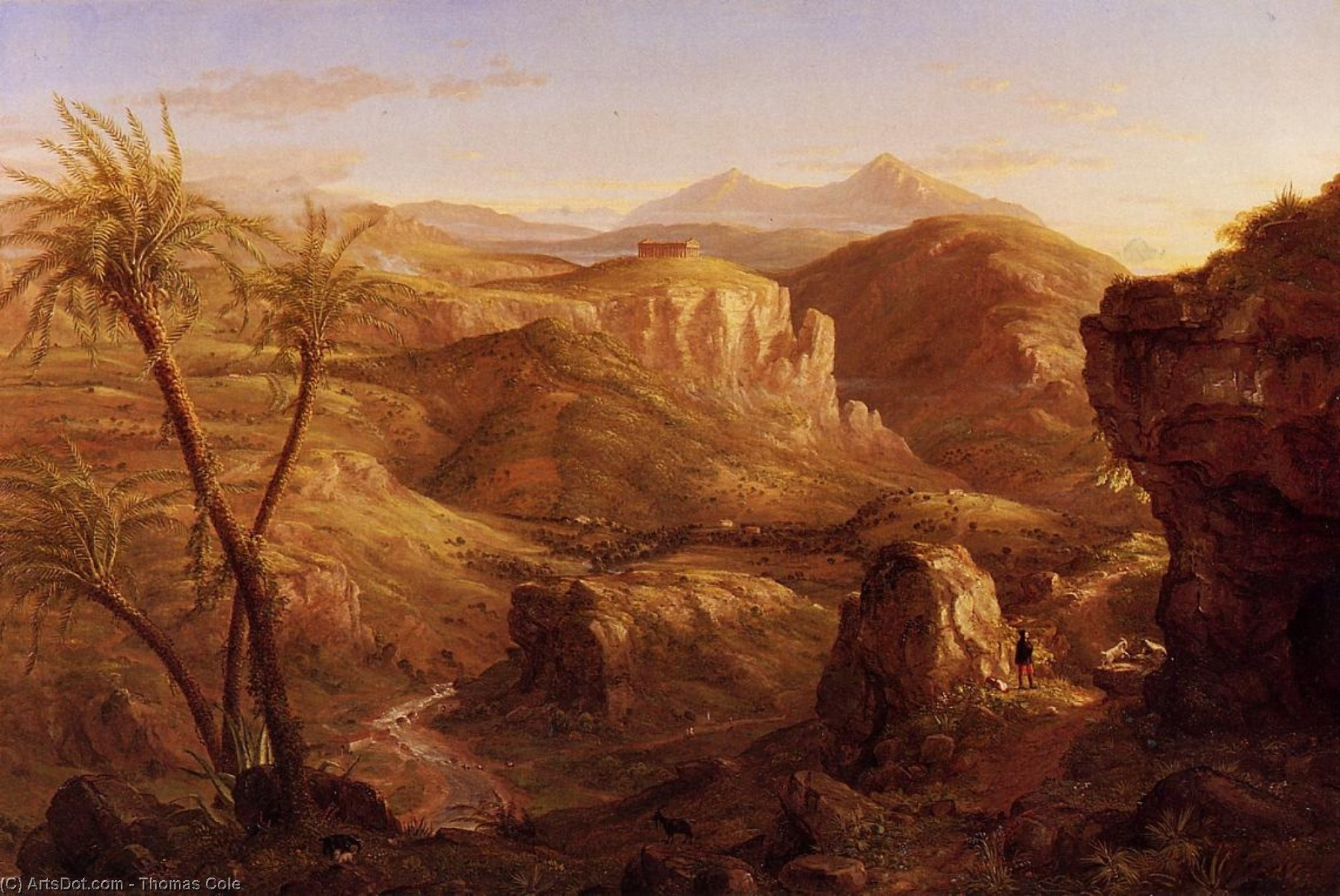 The Vale and Temple of Segeste, Sicily, Oil On Canvas by Thomas Cole (1801-1848, United Kingdom)