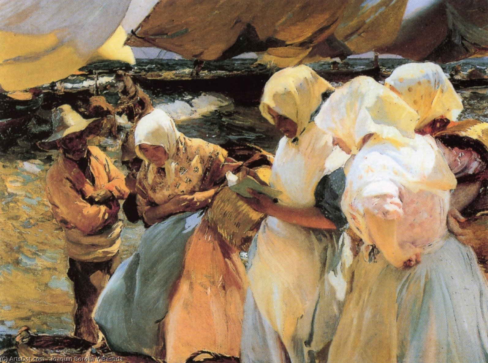 Valencian Fishwives, Oil On Canvas by Joaquin Sorolla Y Bastida (1863-1923, Spain)