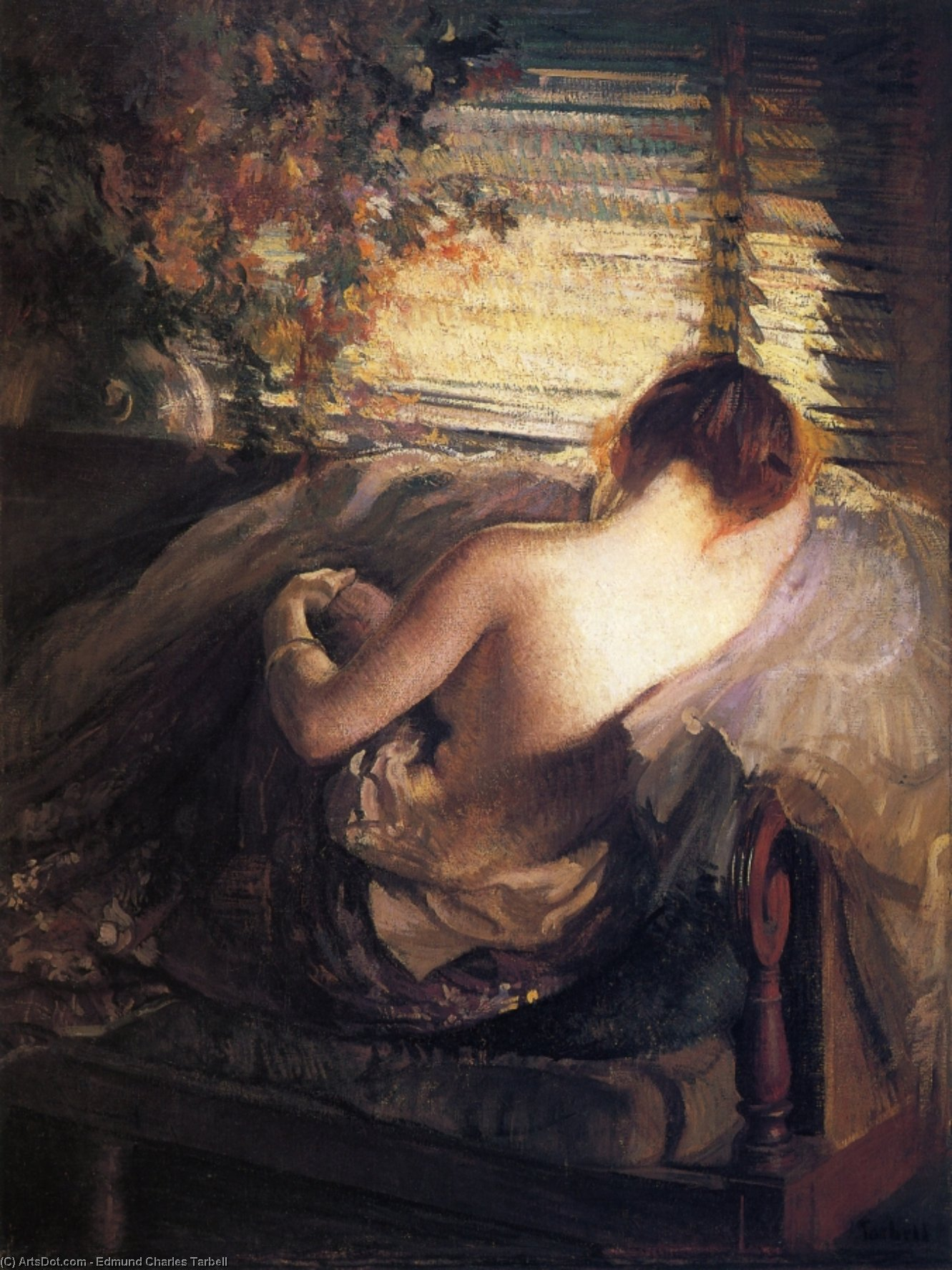 The Venetian Blind, 1898 by Edmund Charles Tarbell (1862-1938, United States) | Art Reproduction | ArtsDot.com