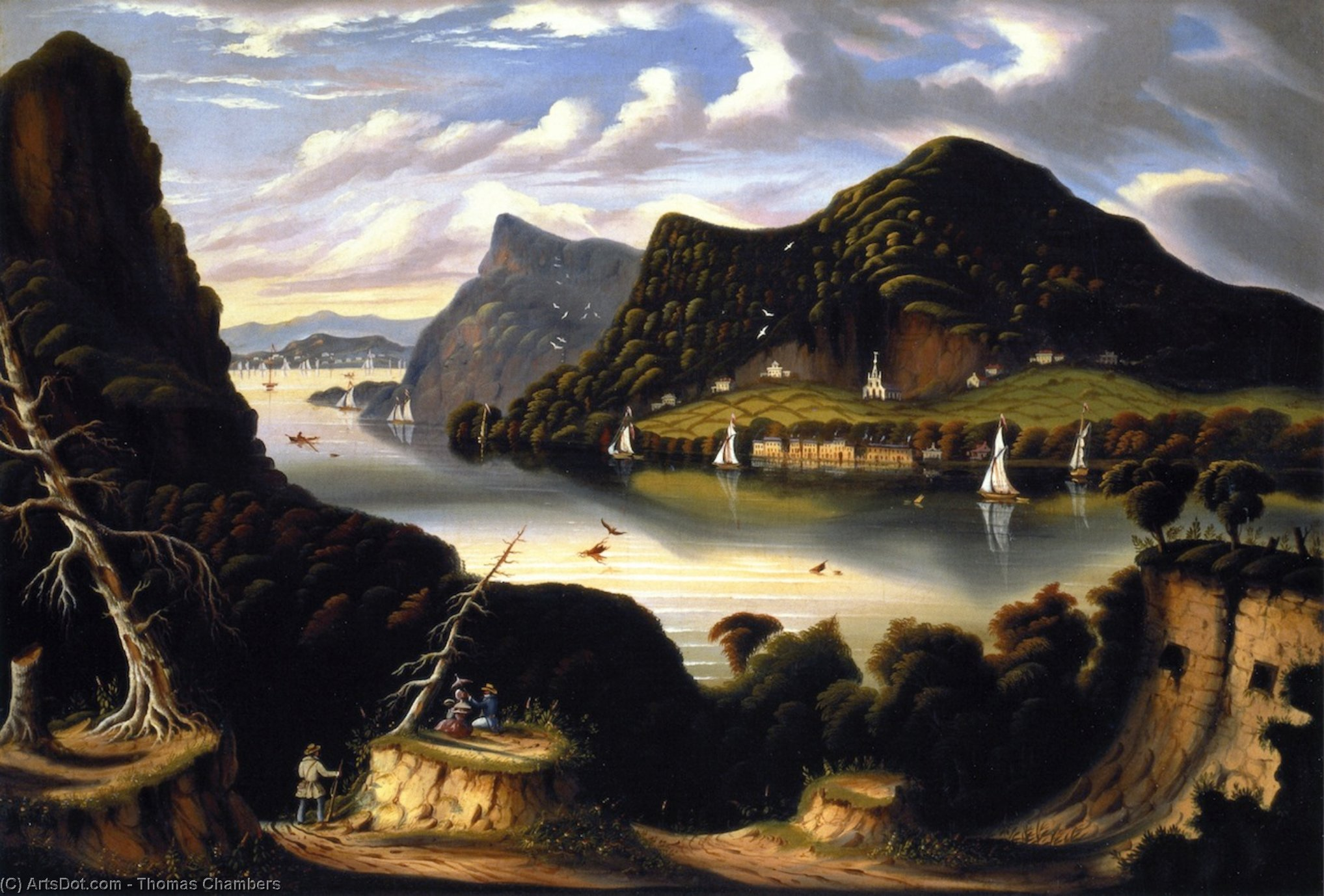 View of Cold Spring and Mount Taurus from Fort Putnam, Oil On Canvas by Thomas Chambers (1808-1869)