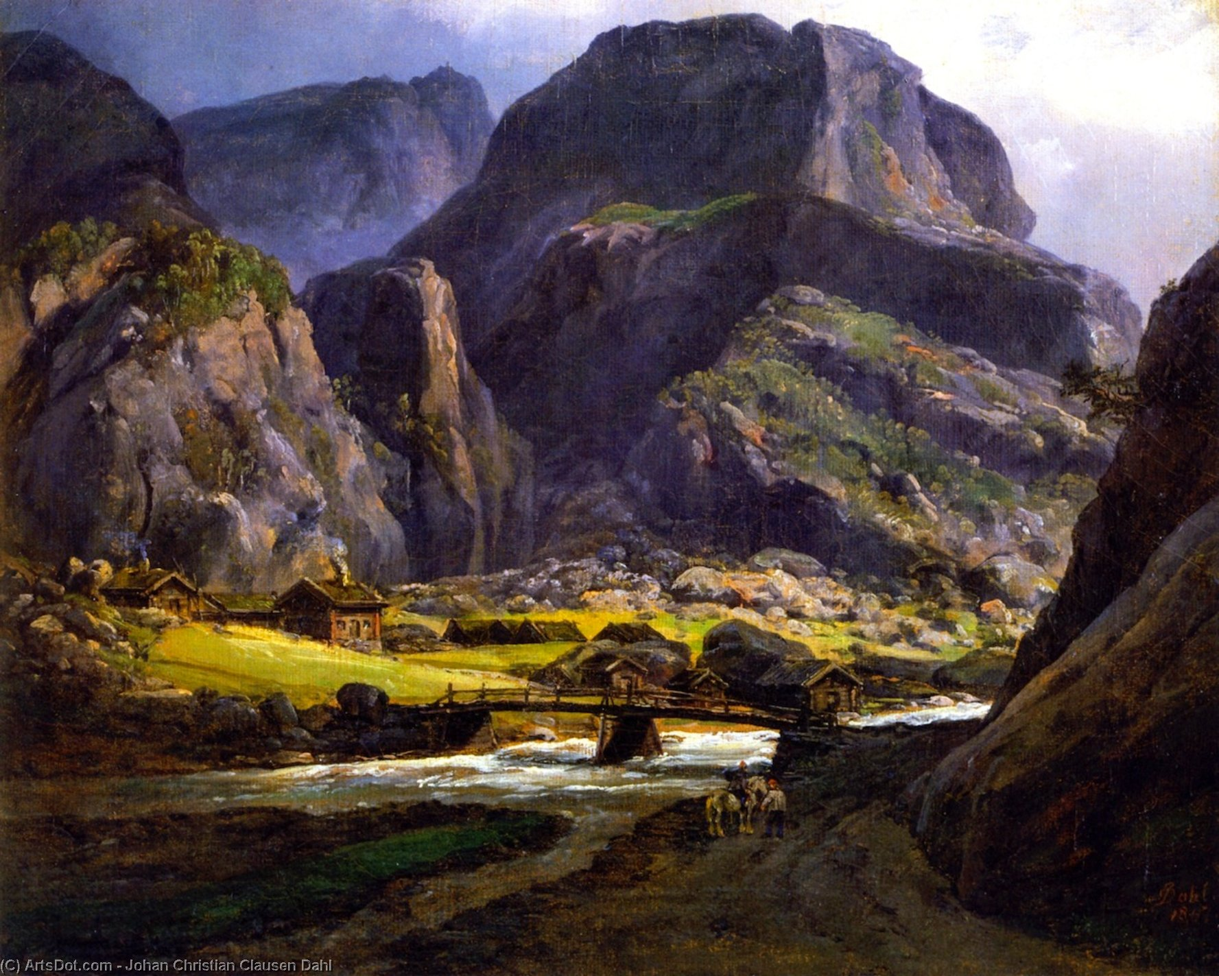View of Naerodalen, Oil On Panel by Johan Christian Clausen Dahl (1788-1857, Norway)