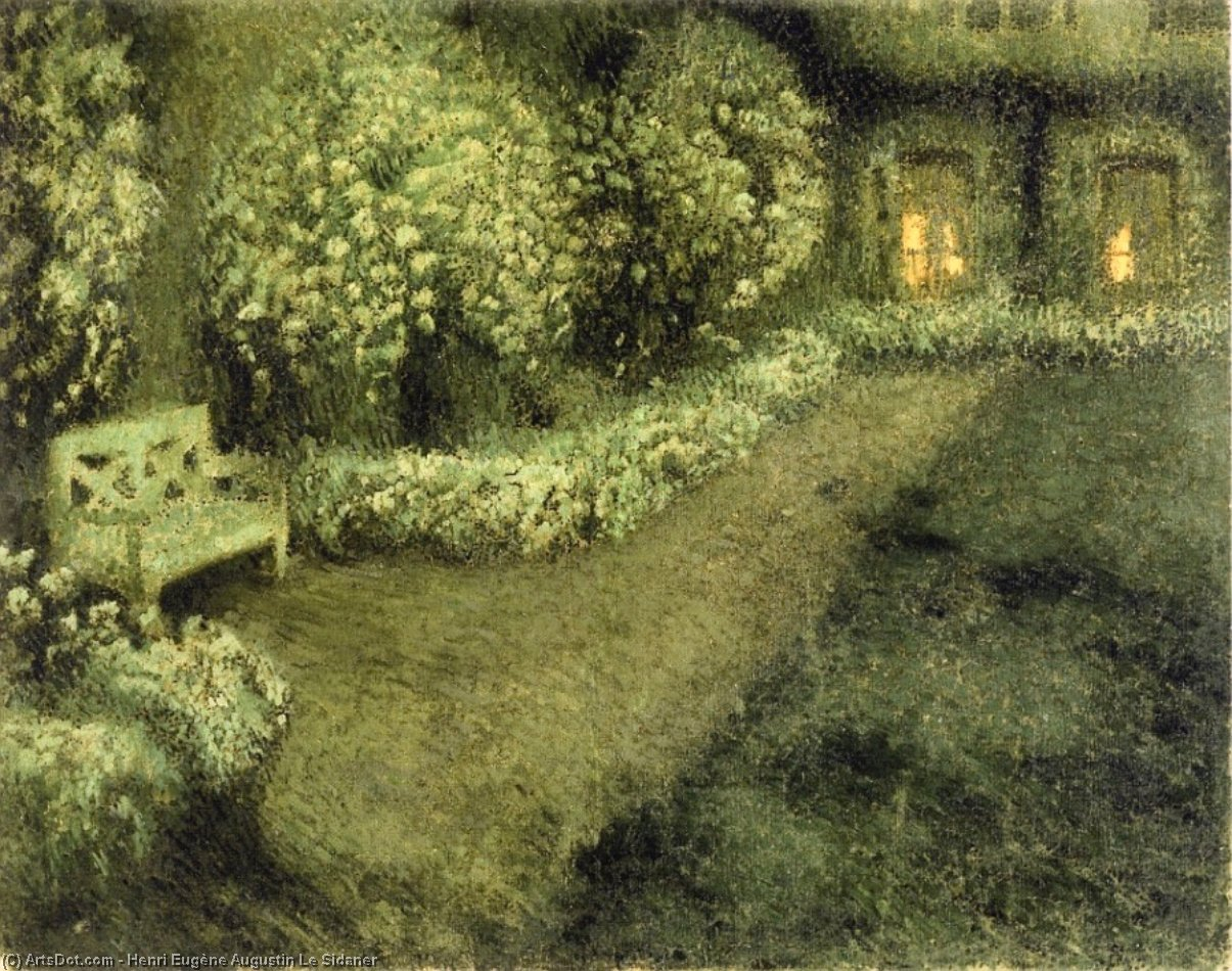 The White Garden in the Moonlight, Gergeroy, Oil On Canvas by Henri Eugène Augustin Le Sidaner (1862-1939, Mauritius)