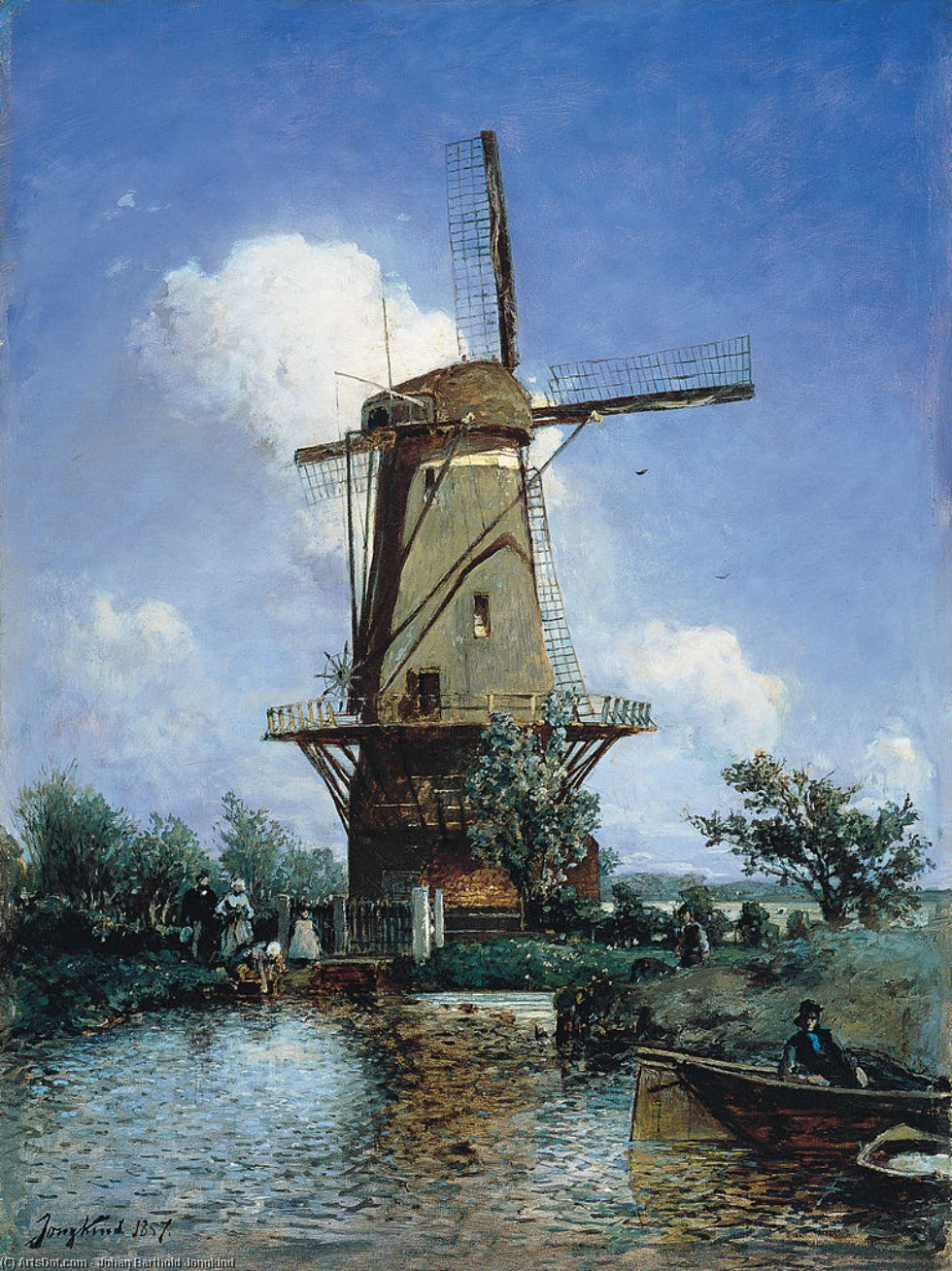 Windmill near Delft, Oil On Canvas by Johan Barthold Jongkind (1819-1891, Netherlands)