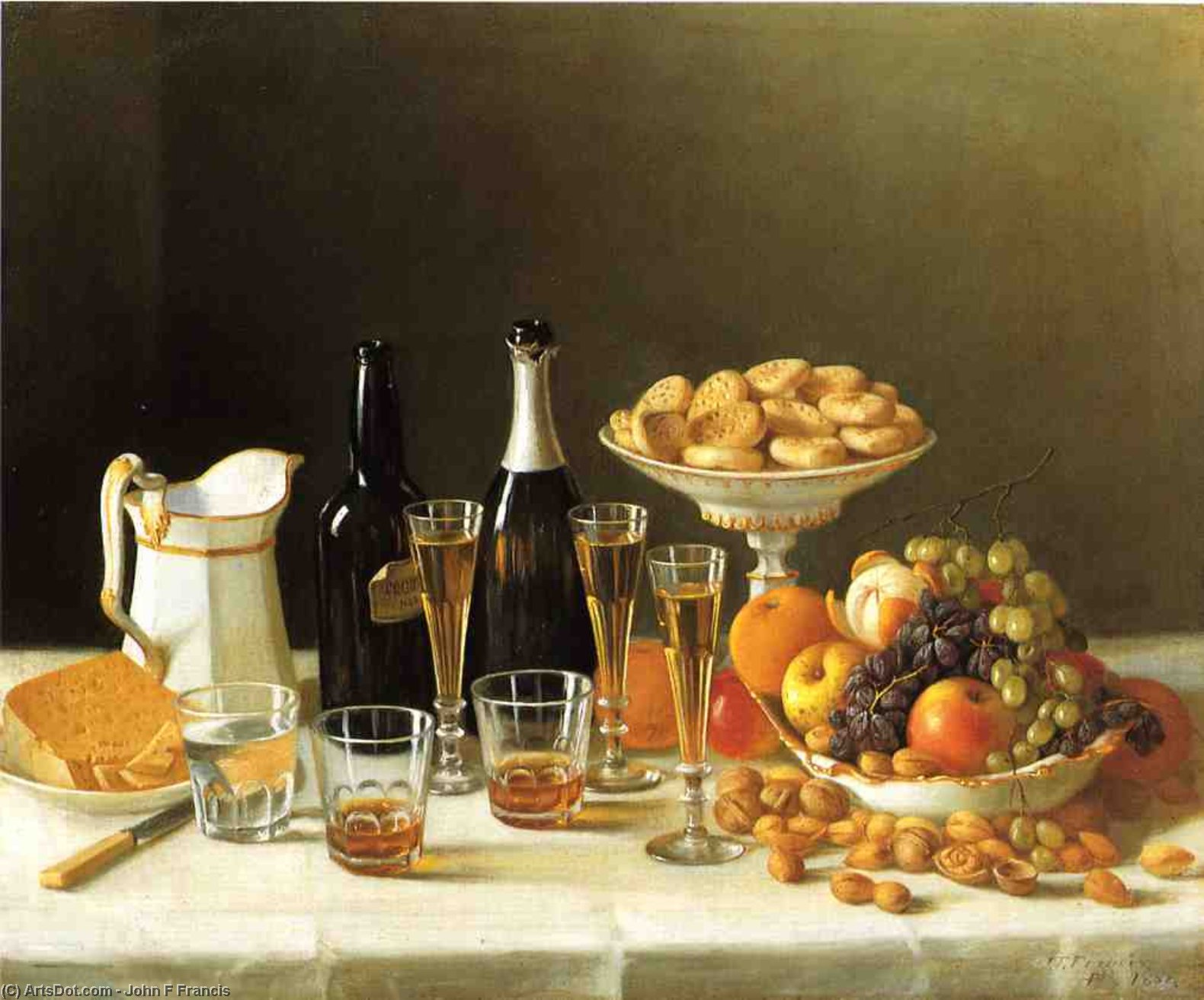 Wine, Cheese and Fruit, Oil On Canvas by John F Francis (1905-1990, United States)