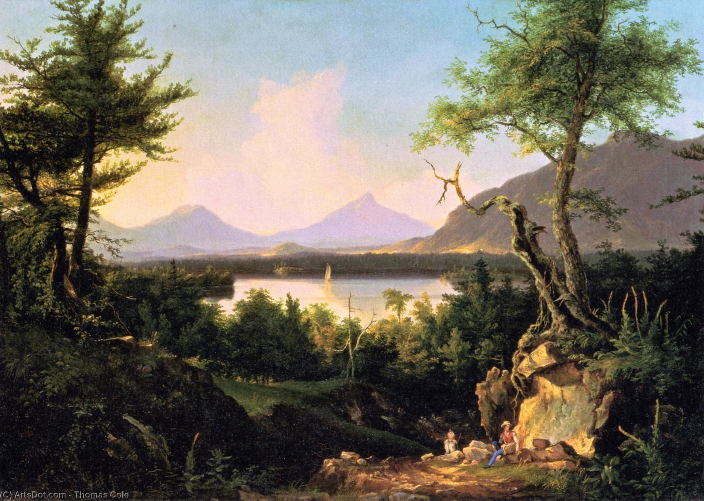 Winnipesaukee, Oil On Canvas by Thomas Cole (1801-1848, England)
