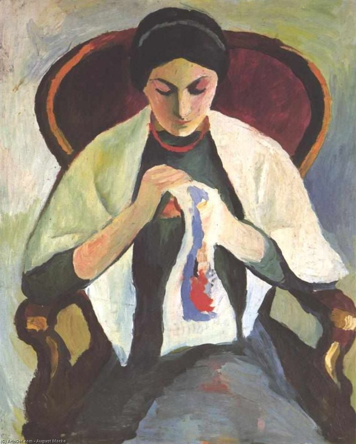 Woman Embroidering in an Armchair: Portrait of the Artist`s Wife, 1909 by August Macke (1887-1914, Germany) | Art Reproduction | ArtsDot.com