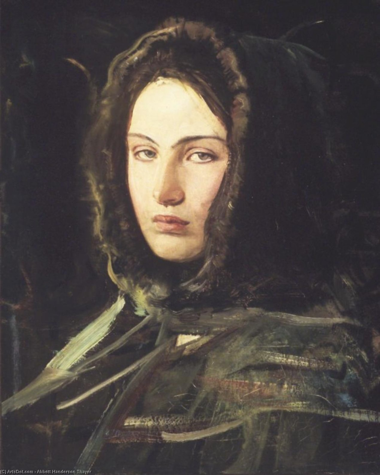 A Woman with a Fur-Lined Hood, 1908 by Abbott Handerson Thayer (1849-1921, United States)